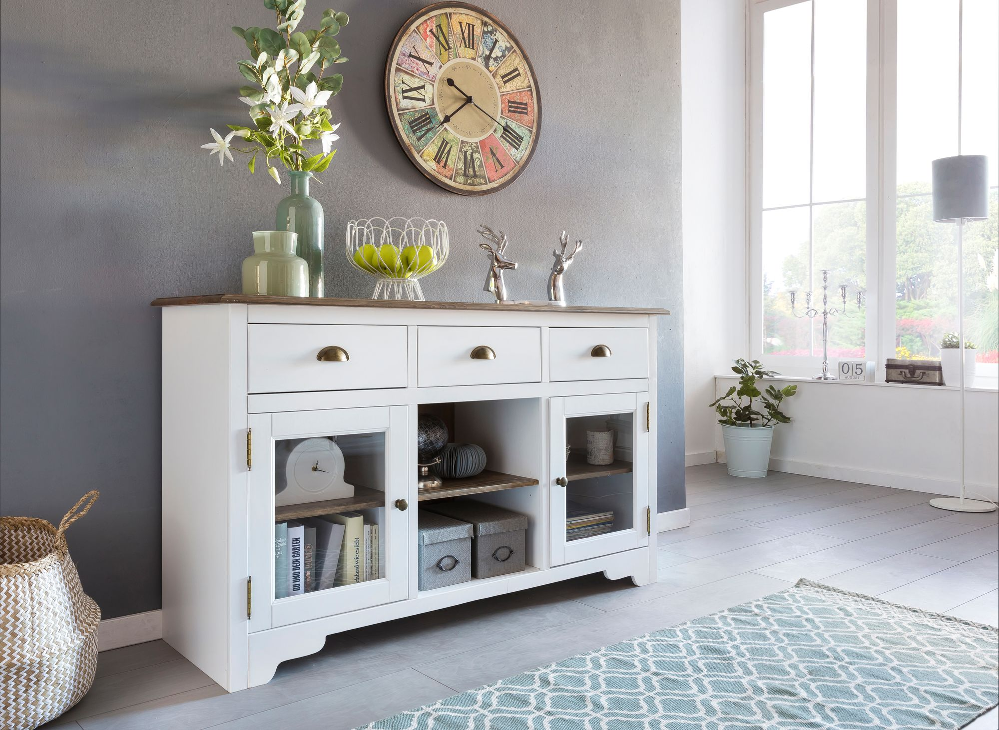 Finebuy Sideboard Peso Kommode Anrichte Holz Massiv Glas Weiss
