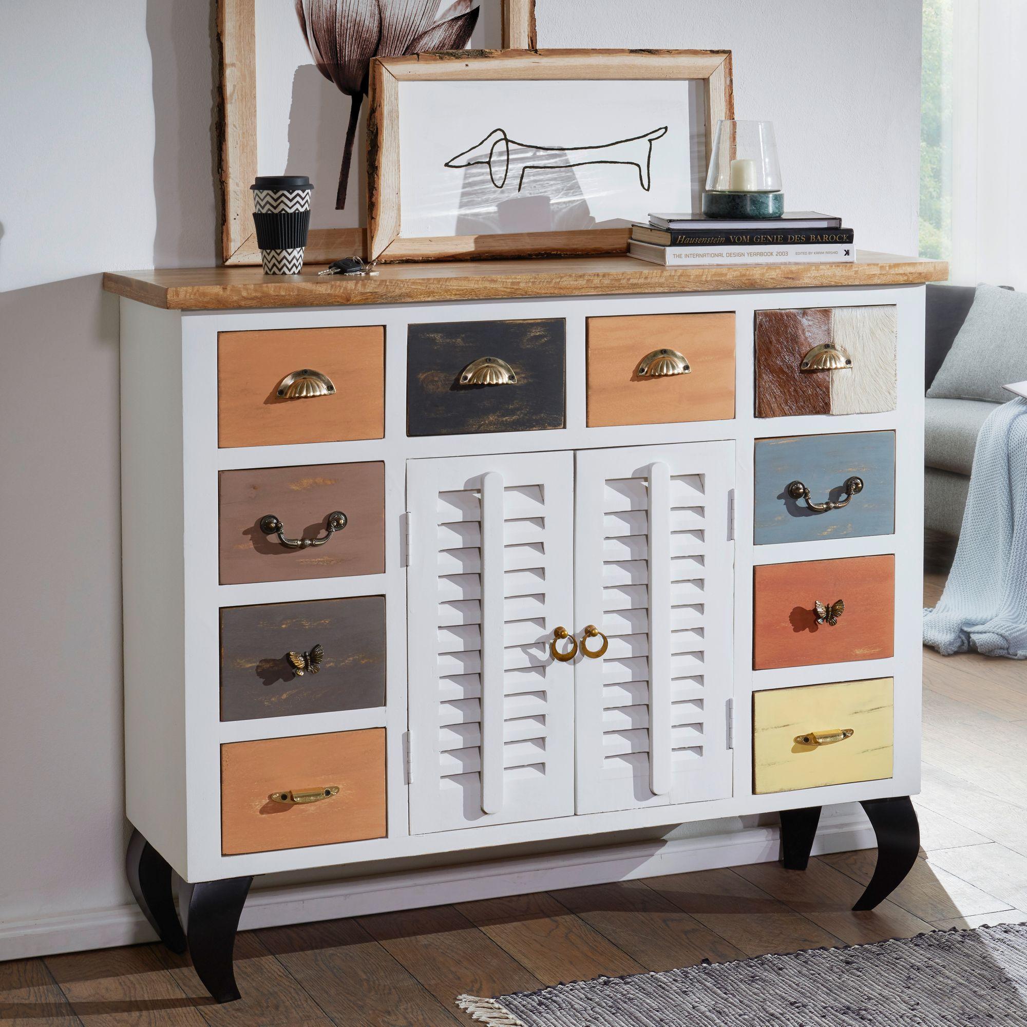 finebuy sideboard fahid kommode anrichte vintage schubladenkommode holz massiv. Black Bedroom Furniture Sets. Home Design Ideas