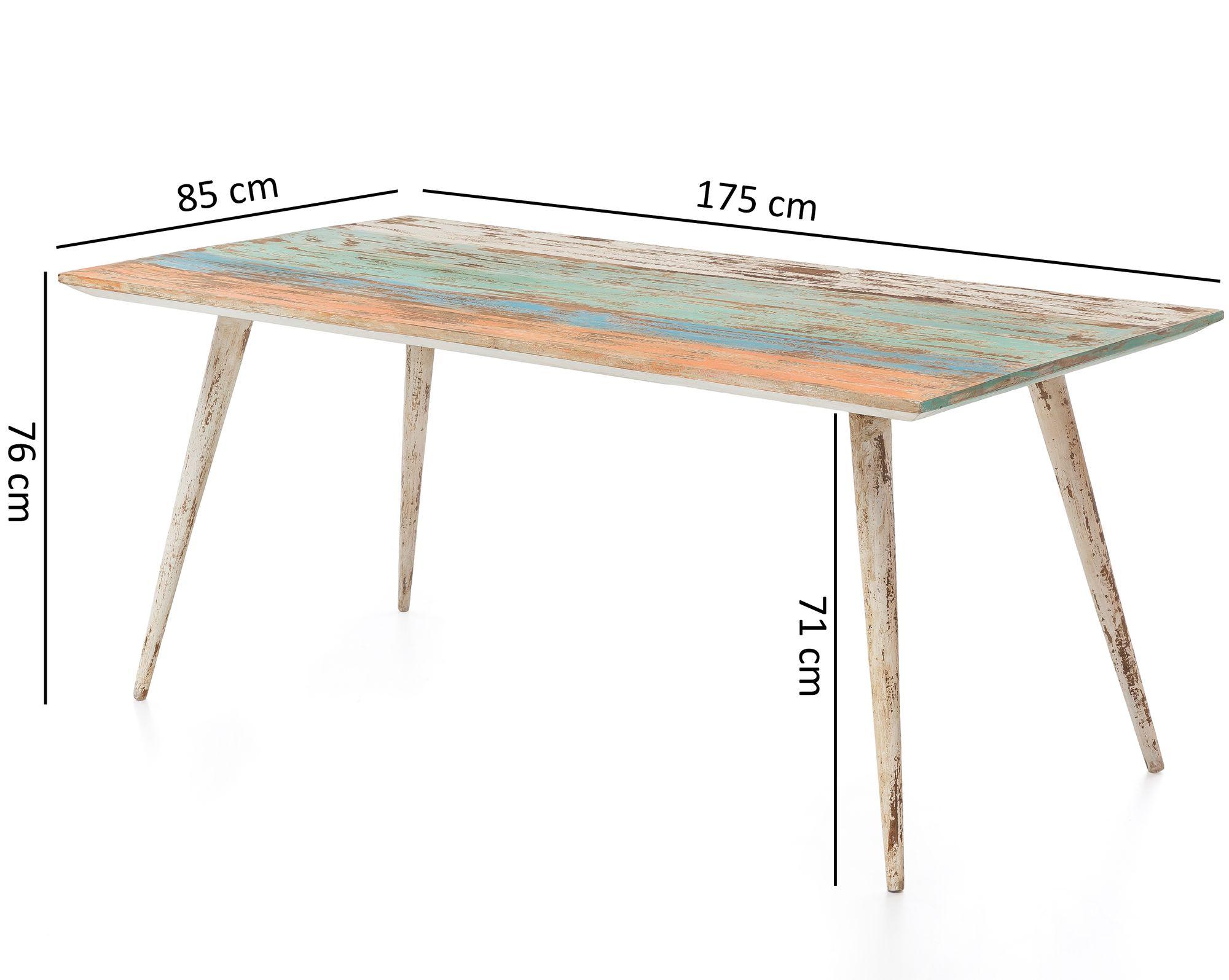 FineBuy Esstisch YEMA Massivholz 175x76x85cm Shabby Chic ...