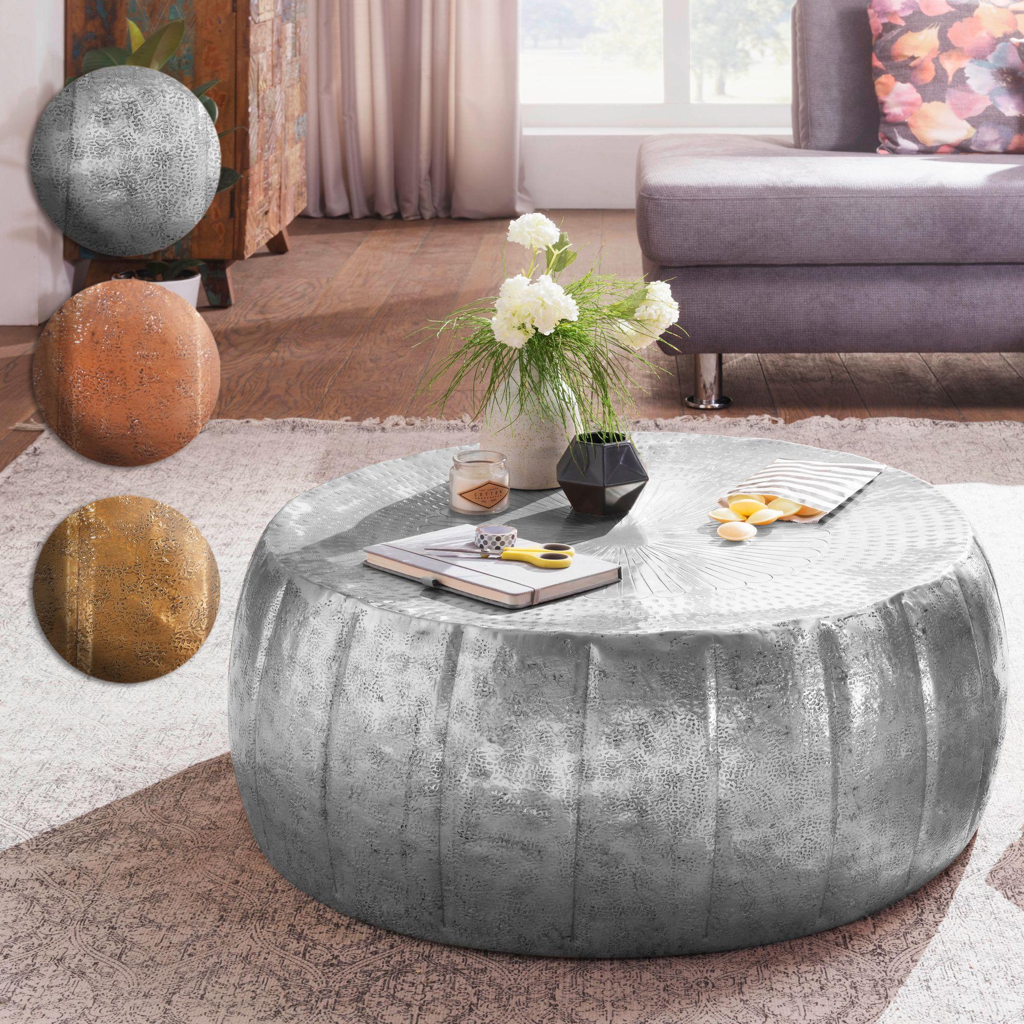 Finebuy Couchtisch Jamali Wohnzimmertisch Rund Sofatisch Stubentisch Metall Alu
