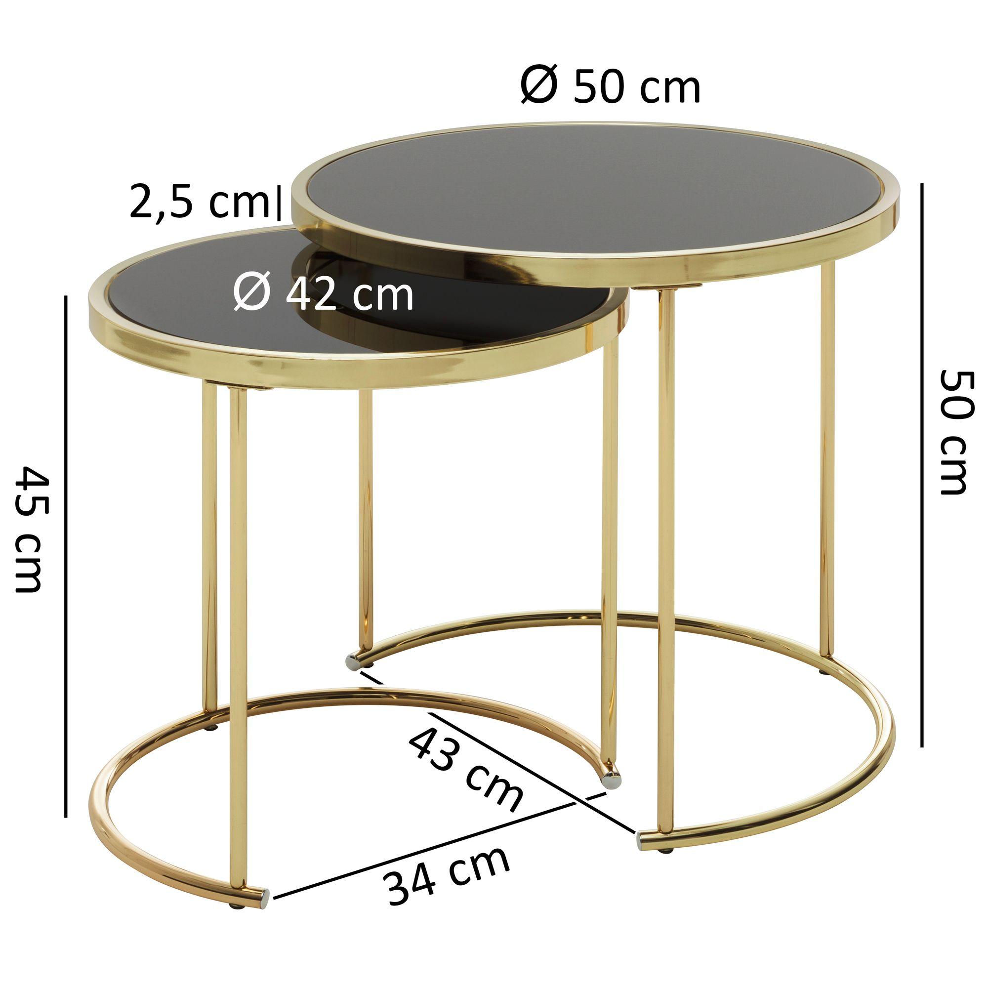 Finebuy Satztisch Caro Schwarz Gold Beistelltisch Metall Glas