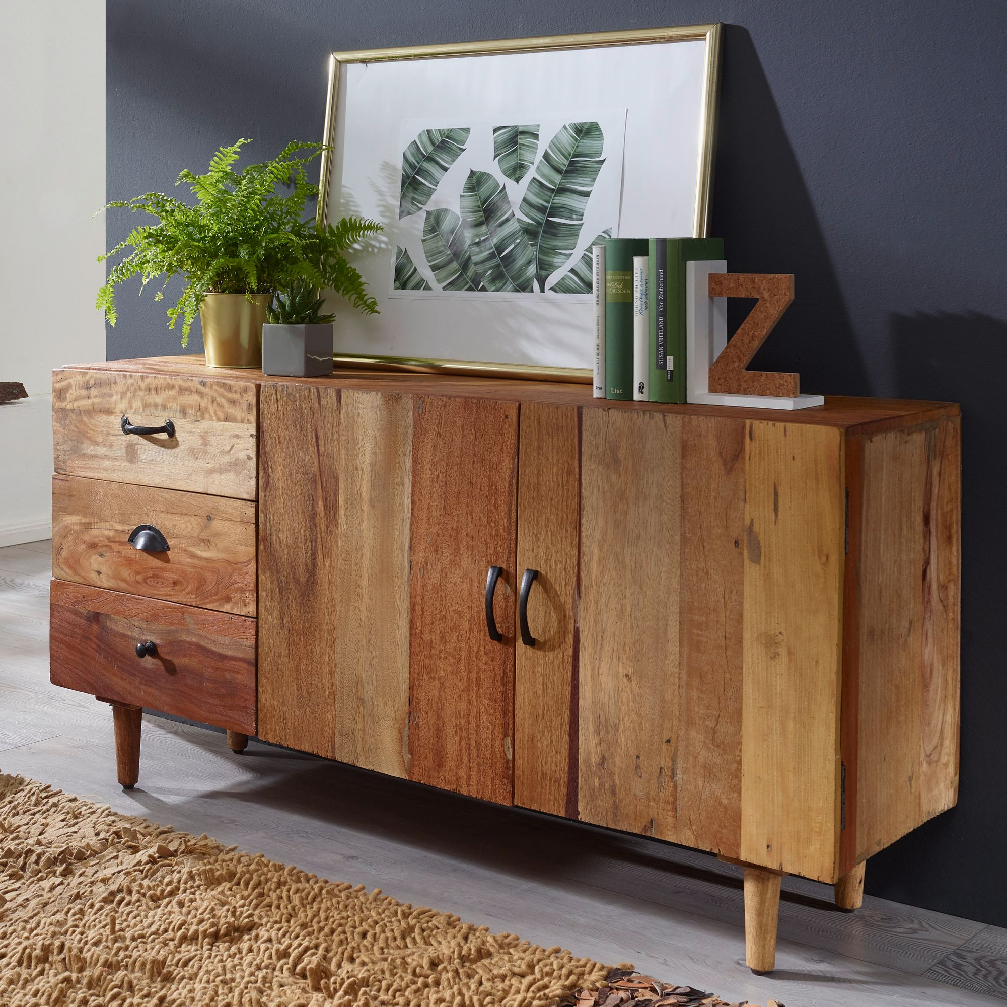 finebuy sideboard nami kommode anrichte landhaus schubladenkommode holz massiv. Black Bedroom Furniture Sets. Home Design Ideas