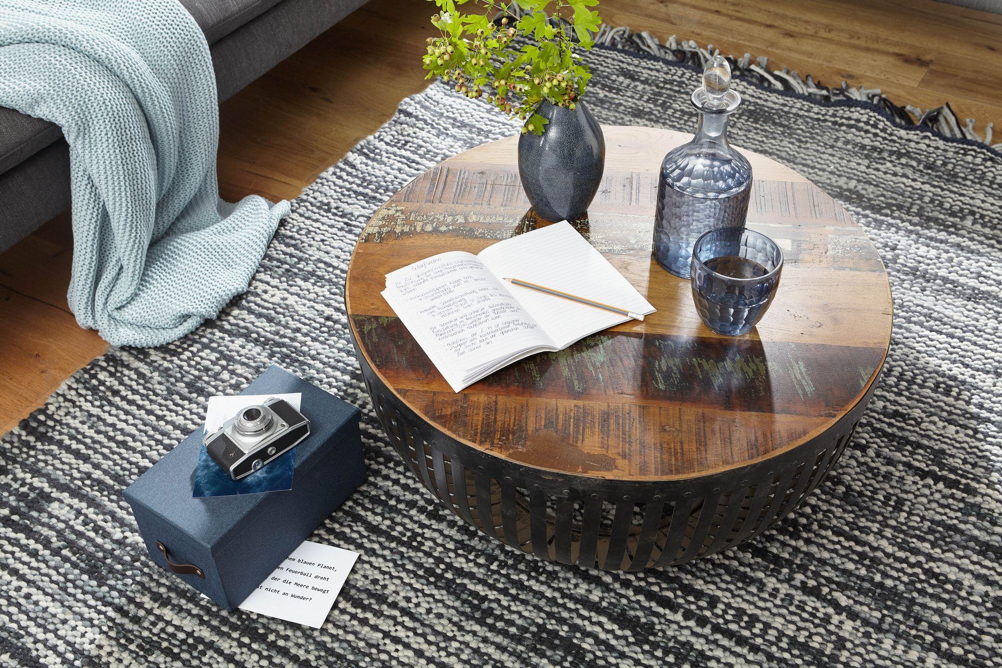 Finebuy Couchtisch Nishu 70cm Tisch Holz Massiv Metall