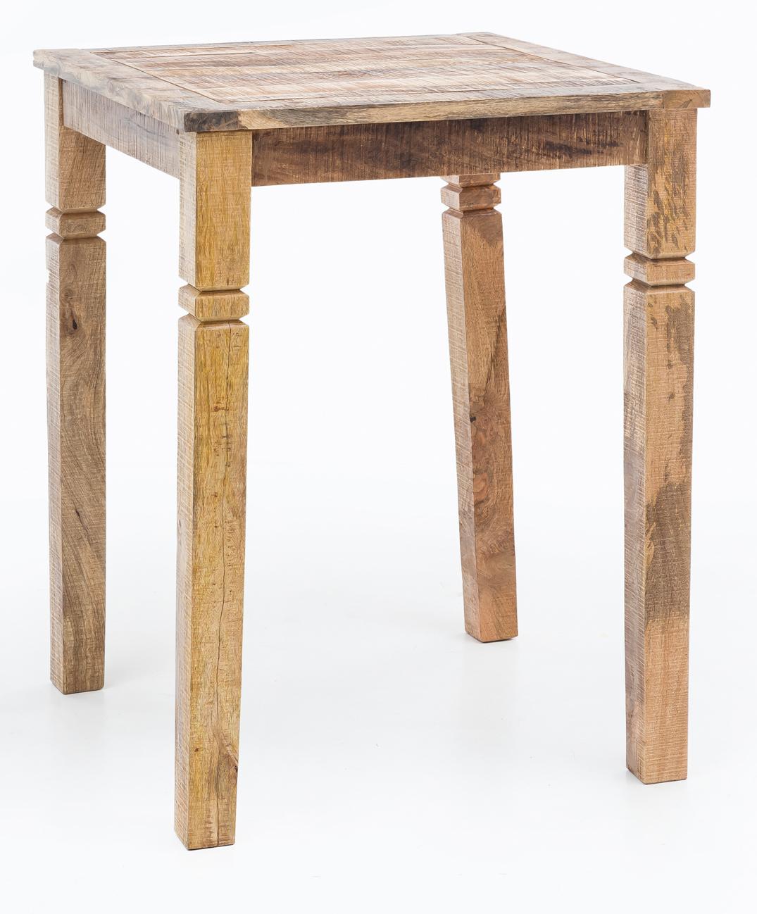 FineBuy Bartisch RUSTI 45 x 45 x 45 cm Massiv-Holz Natur Esstisch  Quadratisch  Rustikaler Hoher Tisch Altholz  Shabby Chic Echtholz  Küchenbartisch