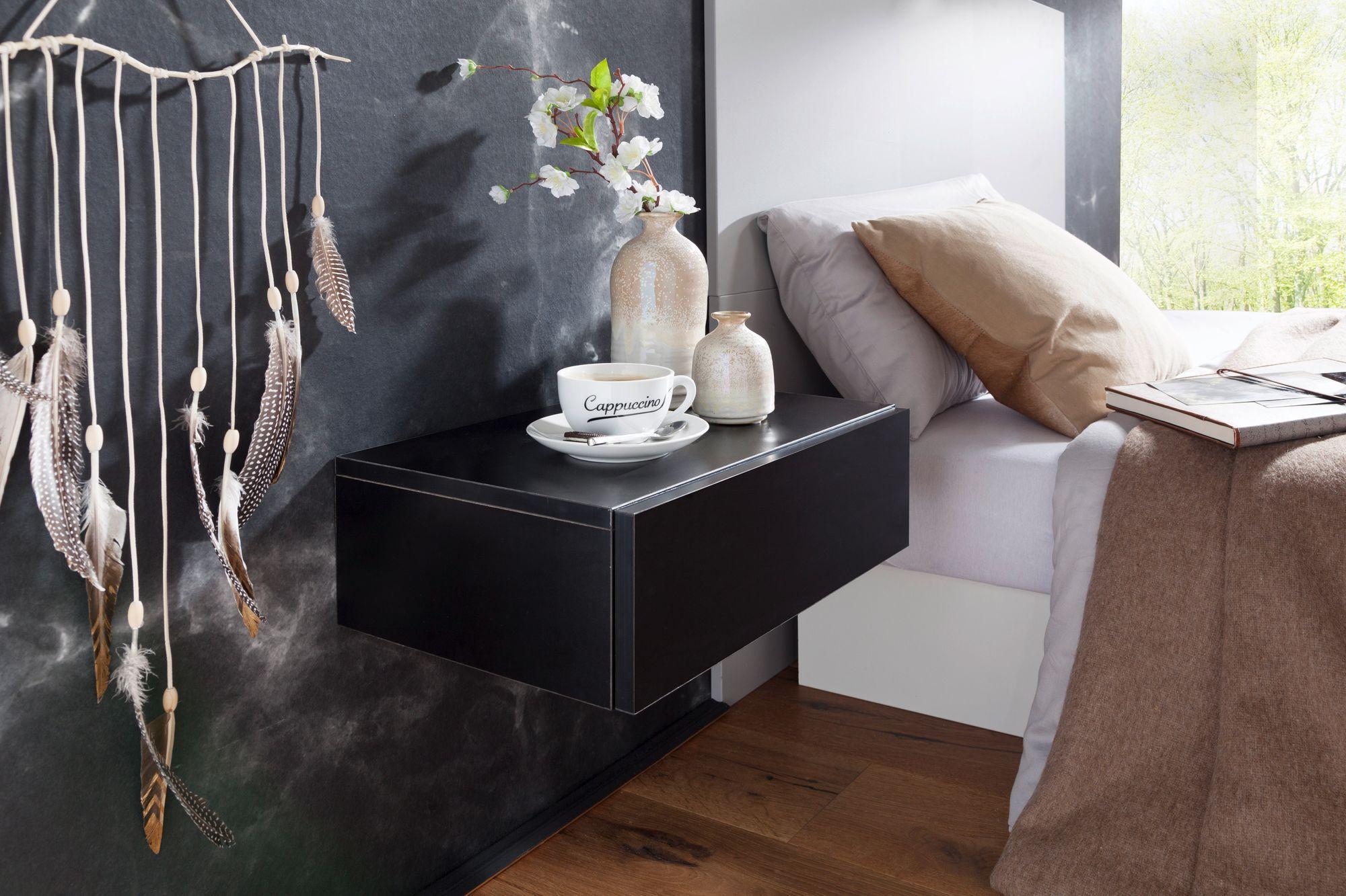 wandregal schublade nachtkommode nachtschrank h ngend schwebend wandboard schwar ebay. Black Bedroom Furniture Sets. Home Design Ideas