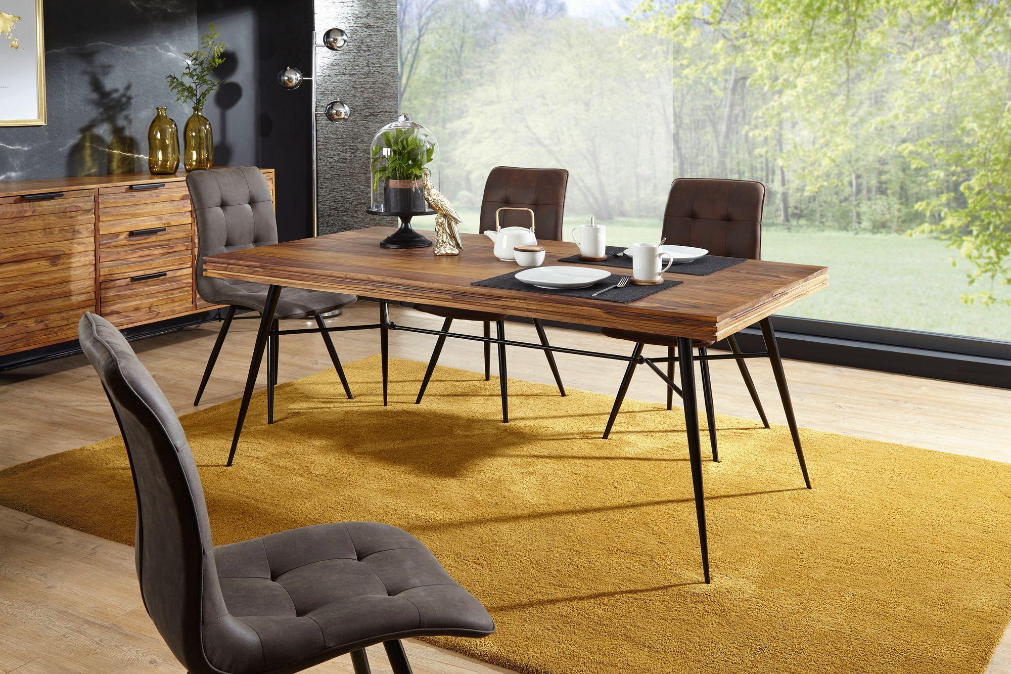 Merveilleux FineBuy Esstisch Sheesham Massiv Esszimmertisch Holztisch Tisch Esszimmer  Metall