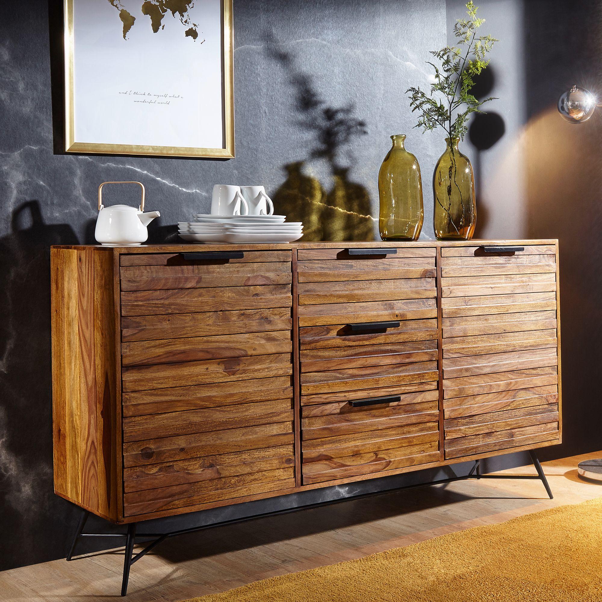 FineBuy Sideboard 160 cm Kommode Türen & Schubladen Anrichte Massivholz  Schrank