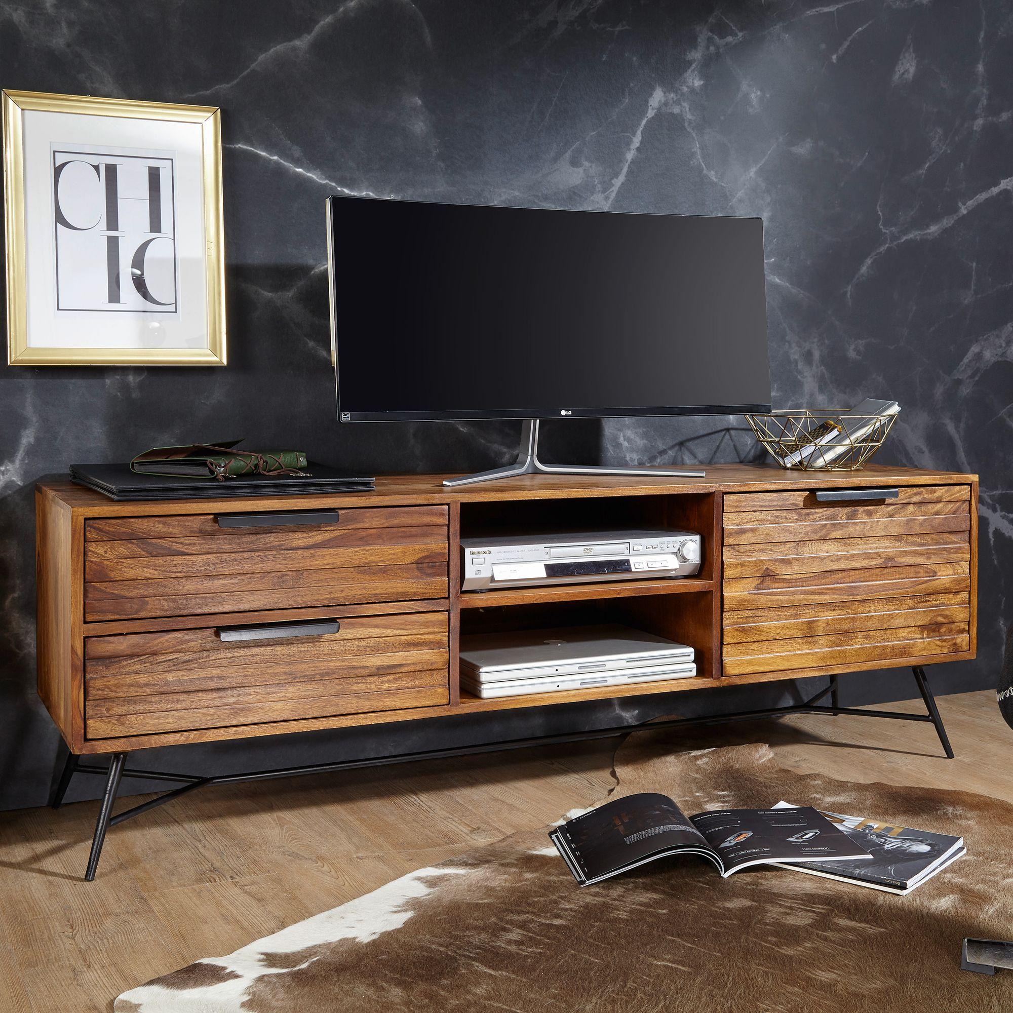 FineBuy Lowboard NASHA 10x10x10 cm Sheesham Massiv Holz  Design  Hifi-Board mit Stauraum und Schubladen  Massivholz Fernsehschrank  Wohnzimmer