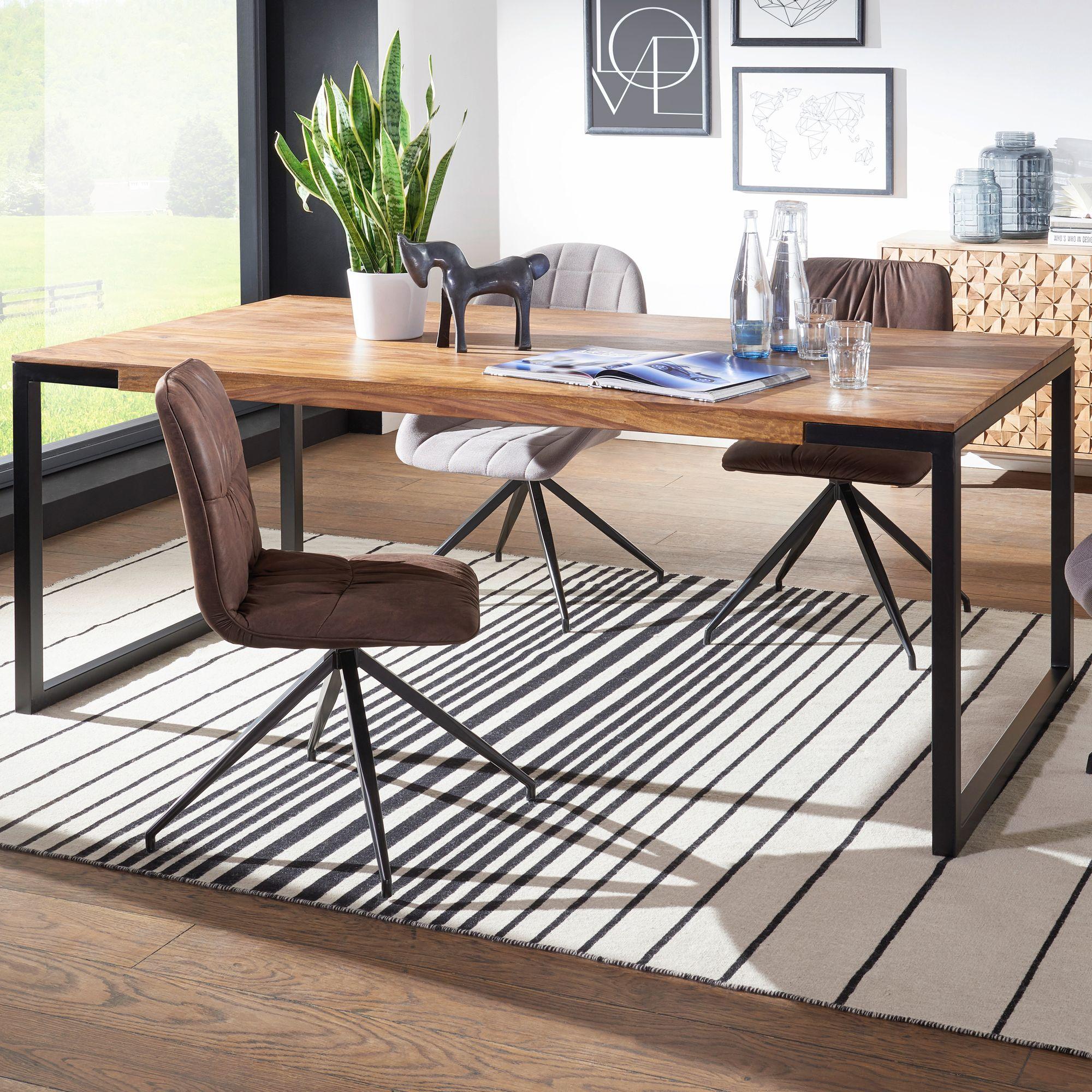 FineBuy Design Esstisch GOYAL Sheesham Holztisch mit Metallbeinen   Massiver Esszimmertisch Braun / Schwarz  Großer Tisch Echtholz / Metall