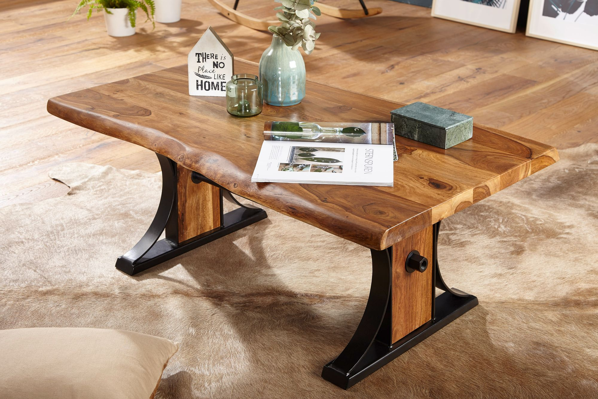 FineBuy Couchtisch BANAR Wohnzimmertisch Holz massiv Sofatisch Tisch  Wohnzimmer