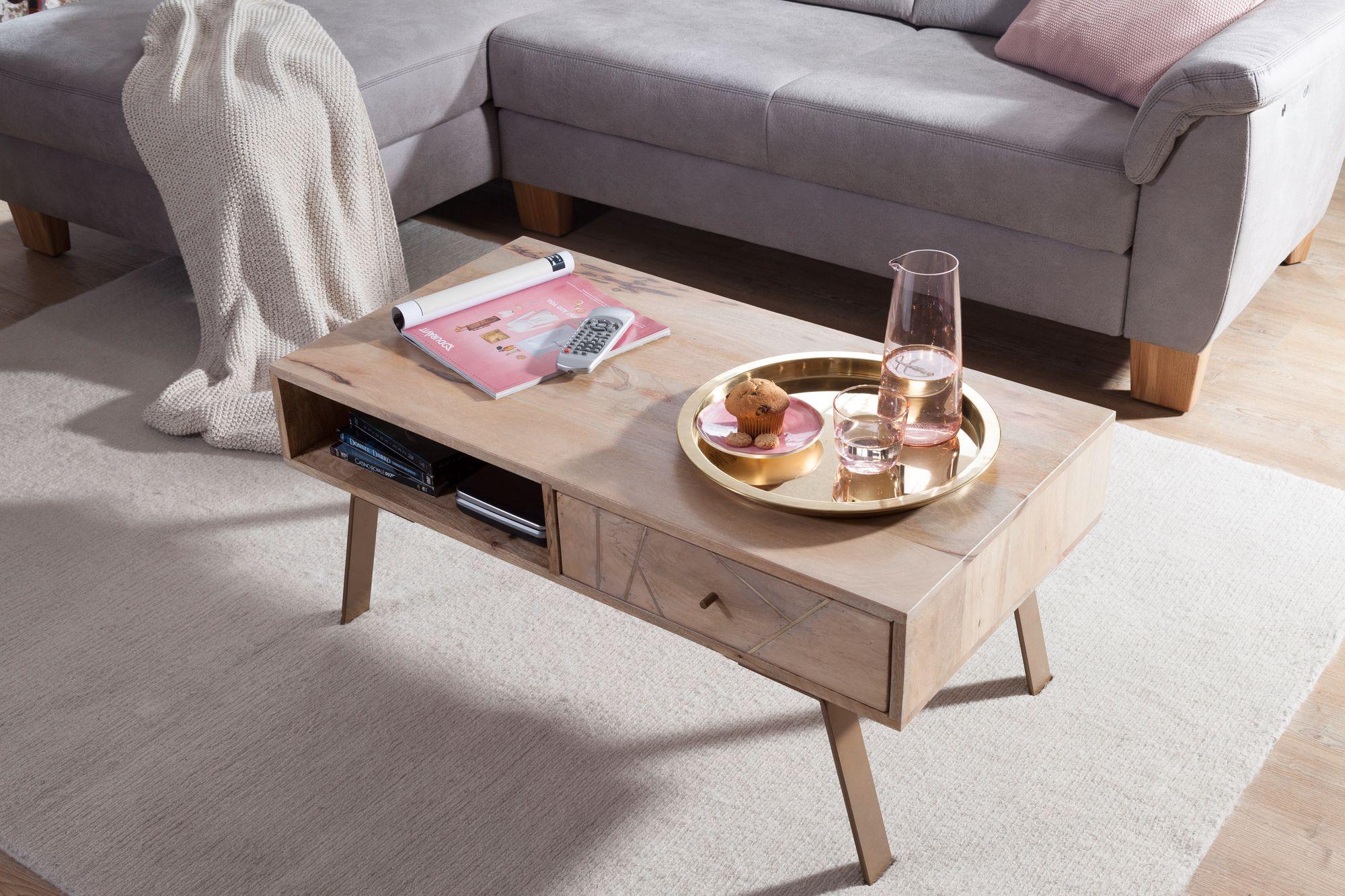FineBuy Couchtisch SAKIR Wohnzimmertisch Holz massiv Sofatisch Tisch  Wohnzimmer