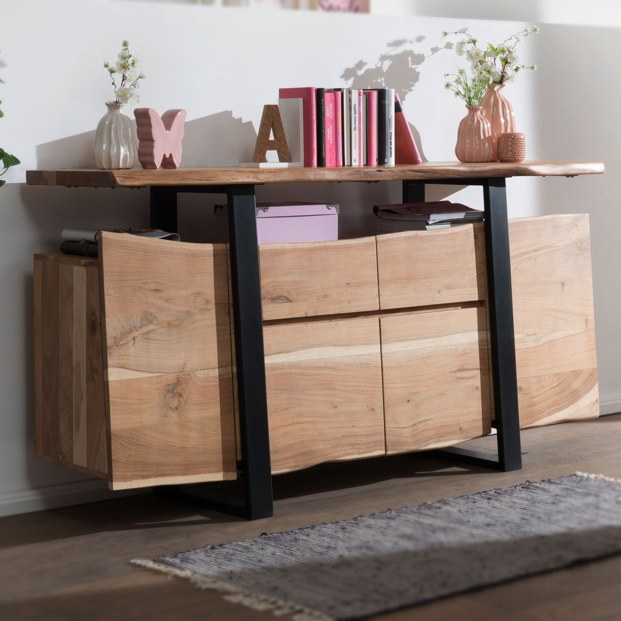 Finebuy Sideboard Akazie Baumkante Kommode Massiv Holz 175 Cm