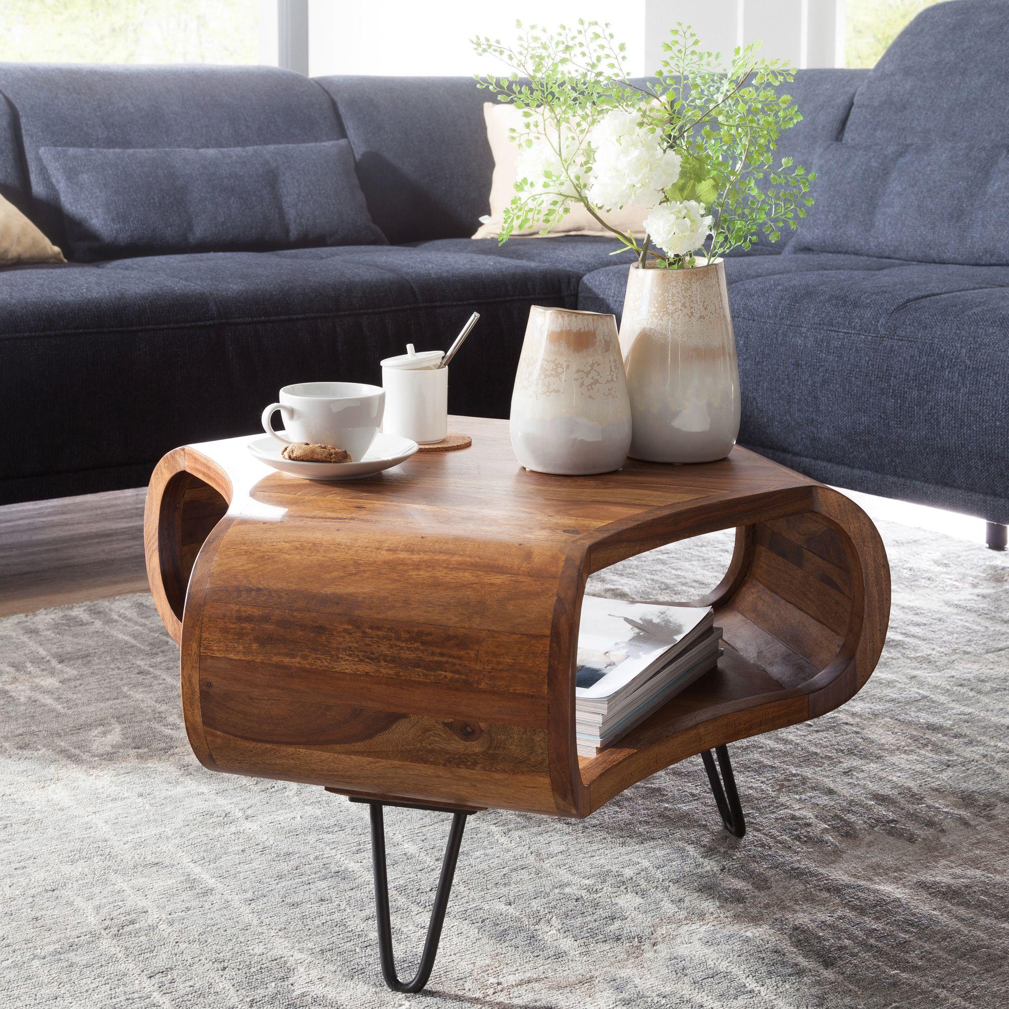 Massiver Couchtisch 55x38x55 Cm Sheesham Wohnzimmertisch Holz Tisch