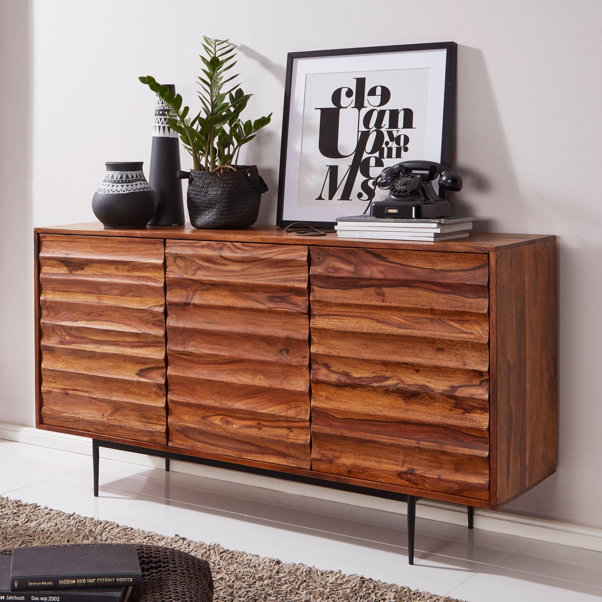 Finebuy Sideboard Sheesham Landhaus Kommode Holz Massiv Anrichte