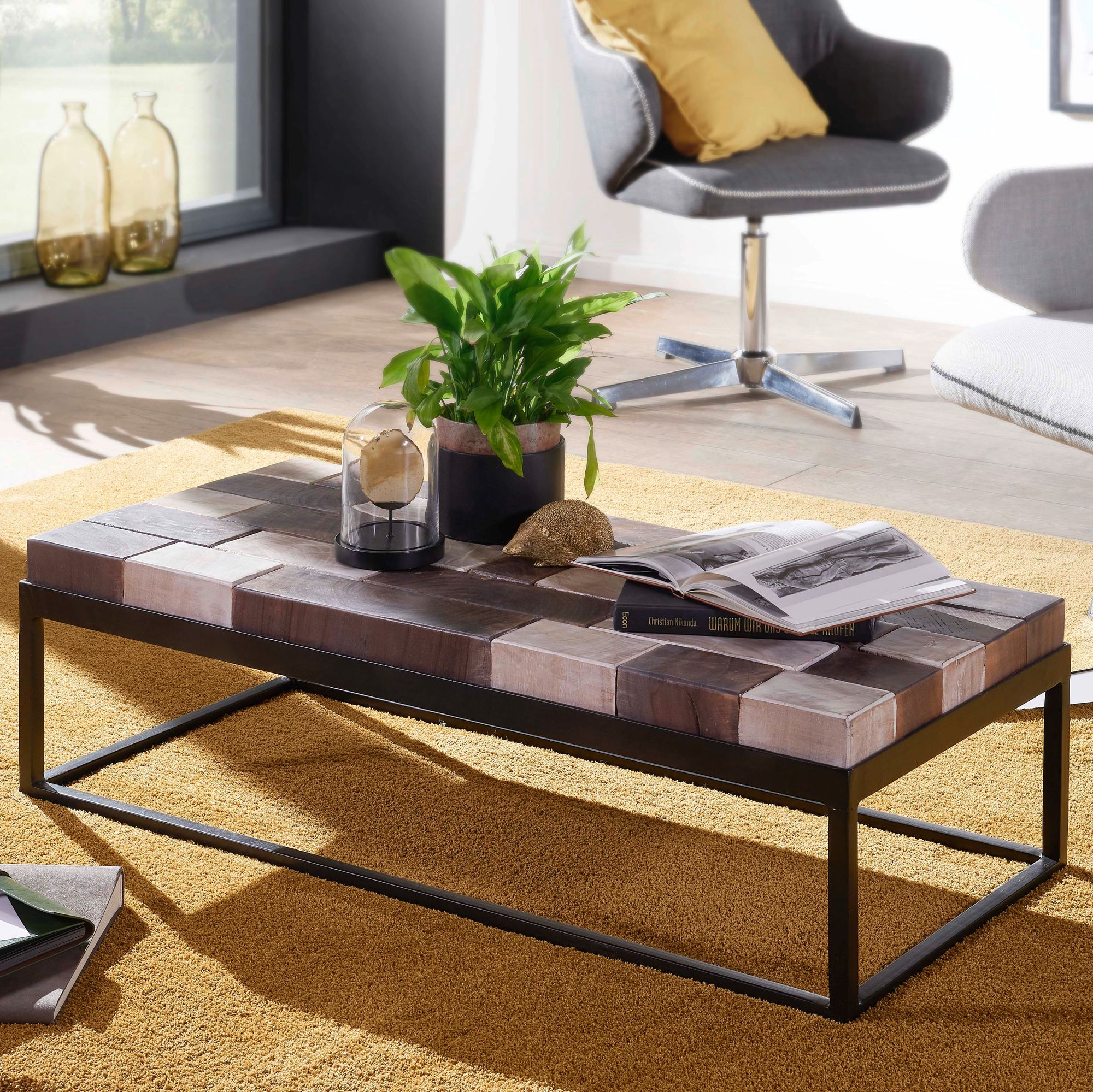Finebuy Beistelltisch 100cm Metall Couchtisch Holz Massiv Sofatisch
