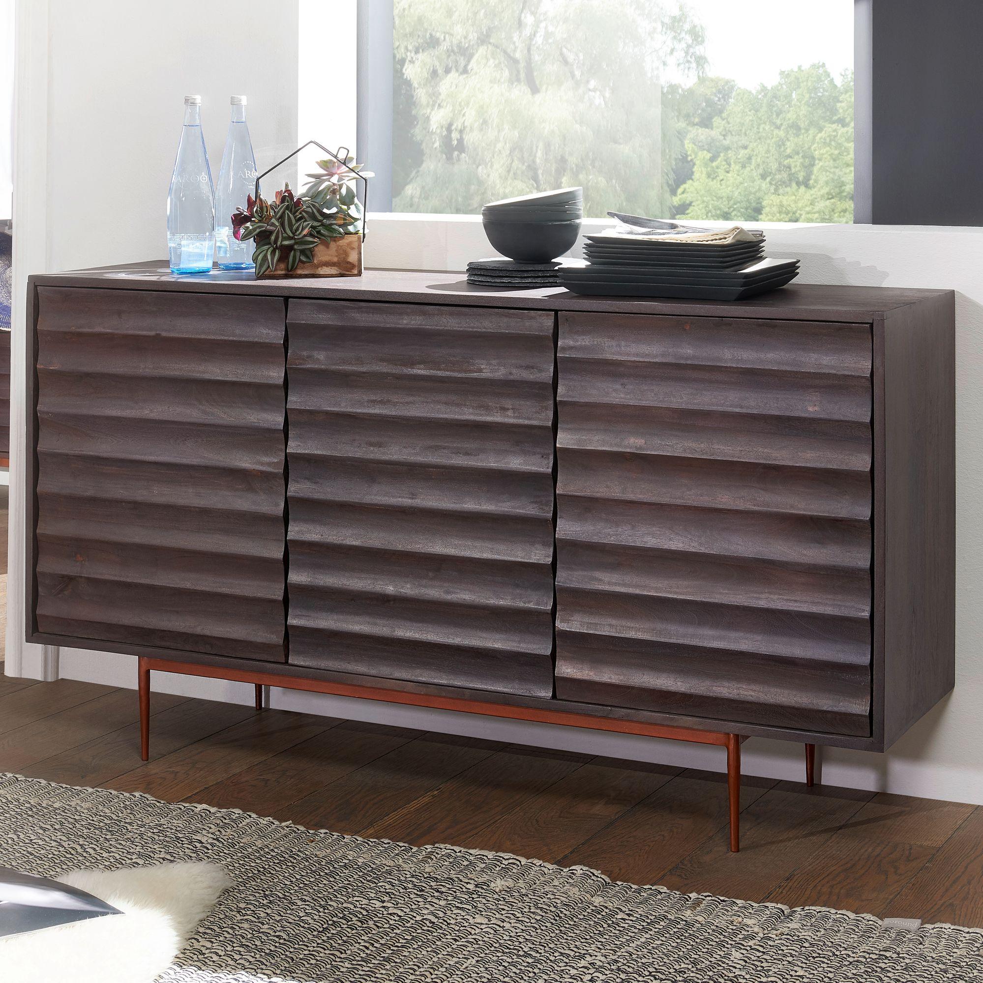 Finebuy Sideboard 148 Cm Anrichte Akazie Kommode Schrank Massiv Holz