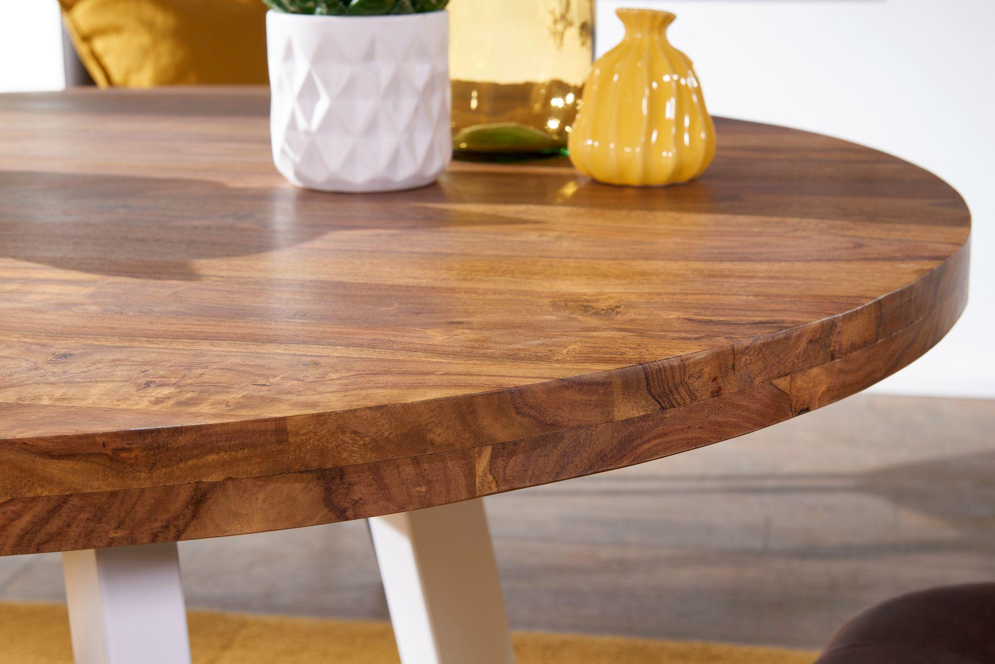 FineBuy Esszimmertisch rund 39x39x39 cm Sheesham Massiv Esstisch Beine  Weiß  Runder Holztisch mit Metallbeinen  Massivholztisch Esszimmer