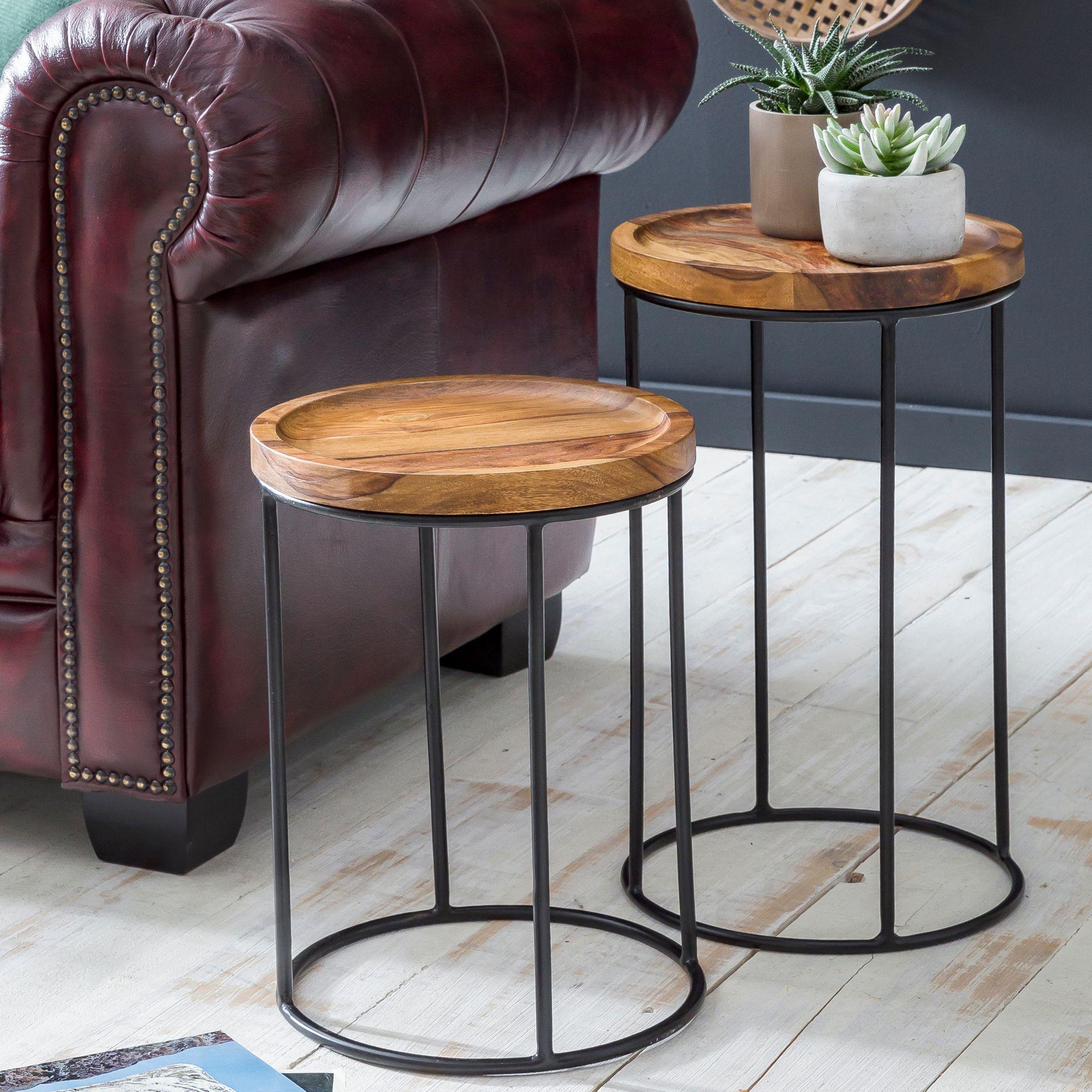 Finebuy 2er Set Beistelltische Sheesham Holz Metall Wohnzimmer Tisch