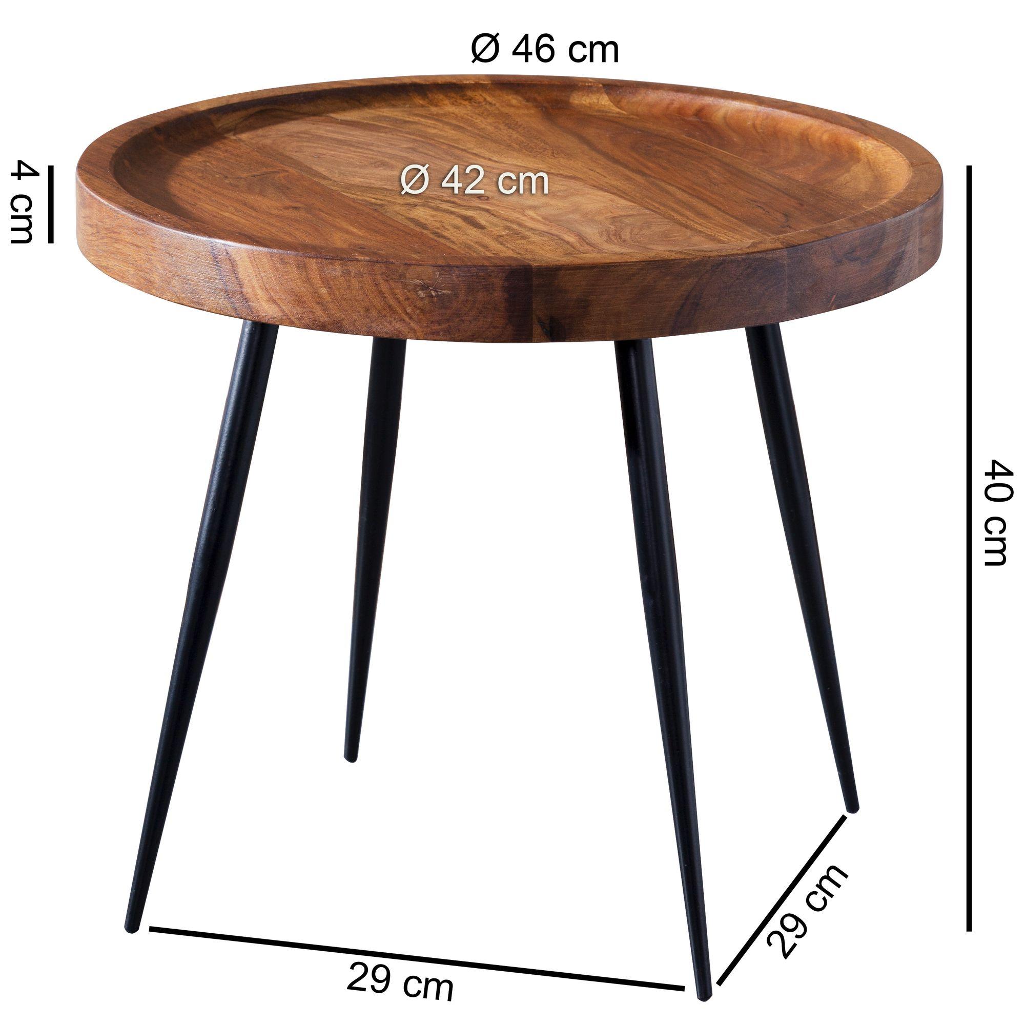 Finebuy Beistelltisch Rund 46x40x46cm Sheesham Massiv Holz Metall