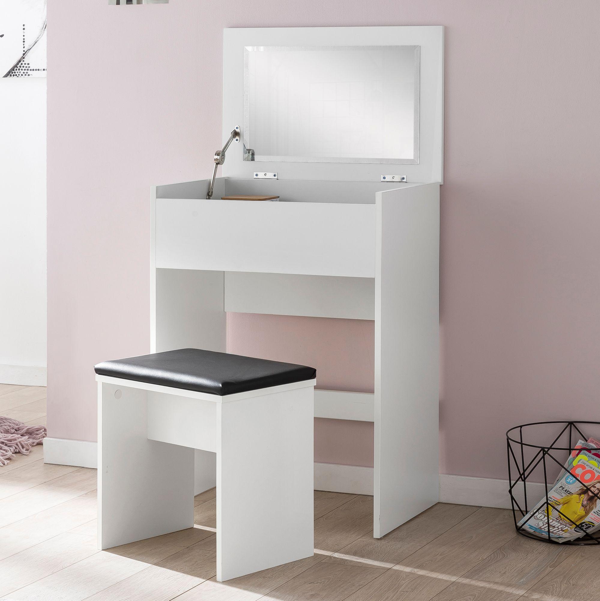 Finebuy Schminktisch Fb51641 Kosmetiktisch Frisiertisch Weiß Spiegel