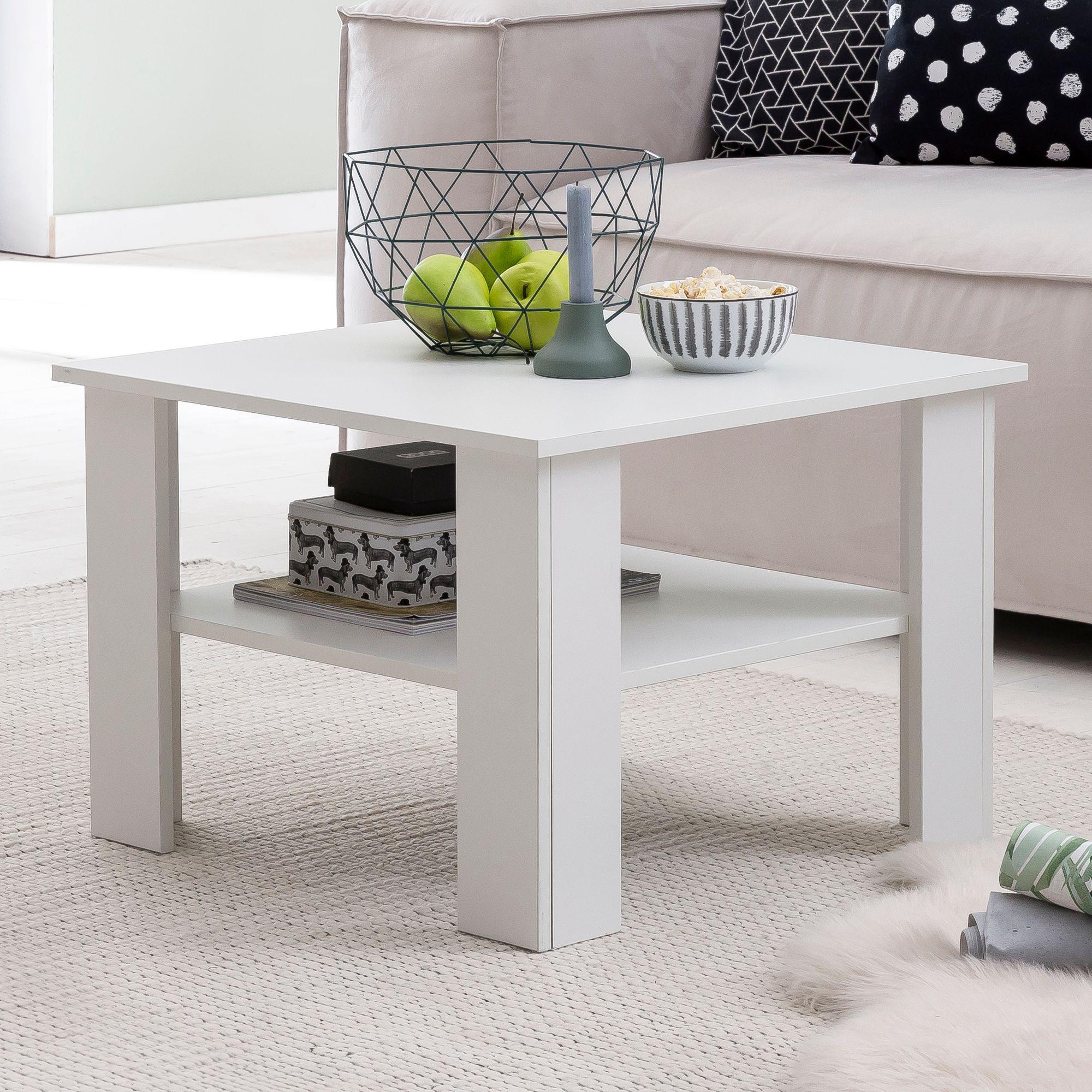 FineBuy Couchtisch SV45 Holz 45 x 45 x 45 cm Design Holztisch mit Ablage   Wohnzimmertisch Coffee Table  Sofatisch Loungetisch  Kaffeetisch