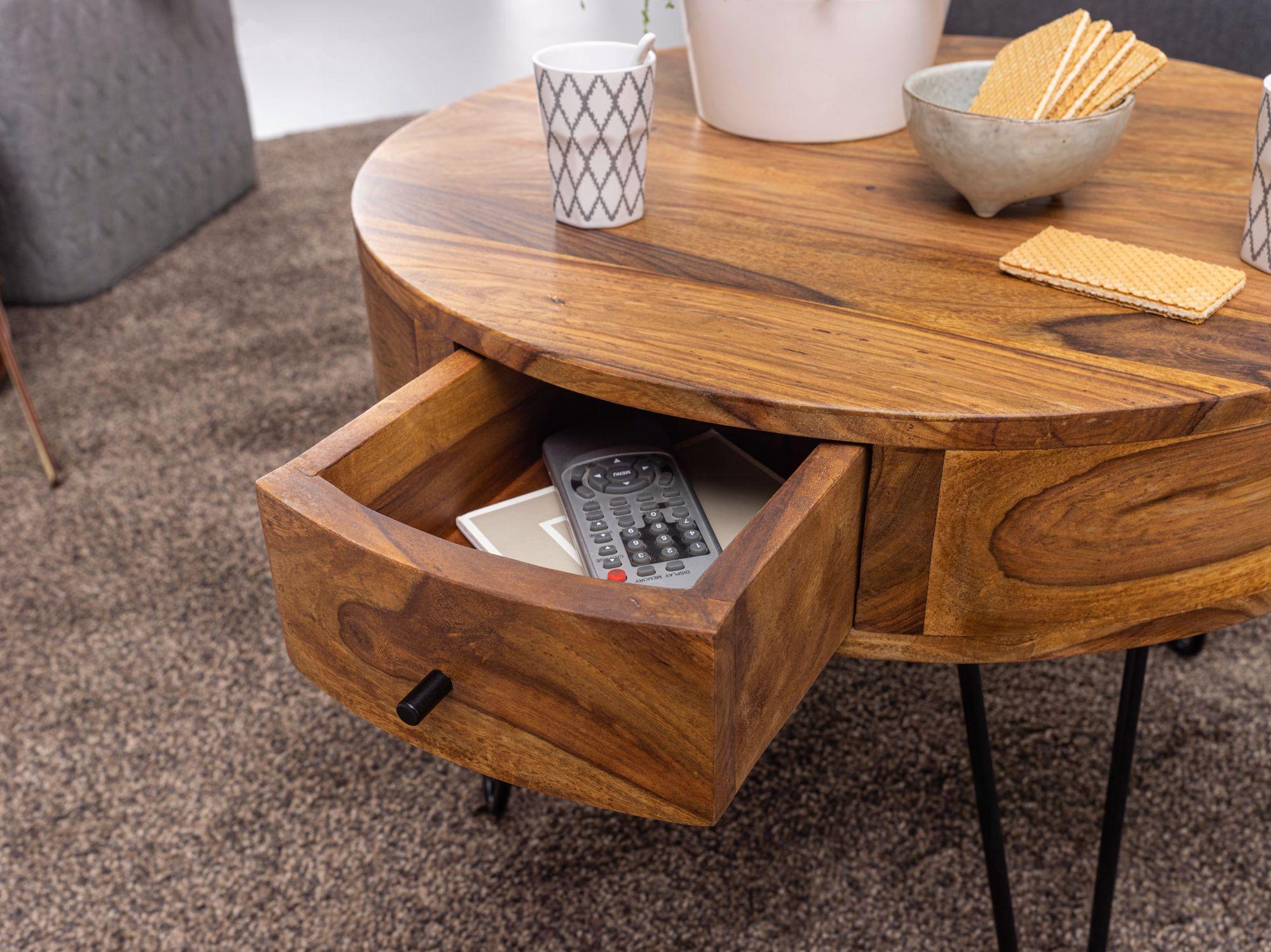 WOHNLING Couchtisch Sheesham Massivholz / Metall 20x20,20x20 cm Tisch  Wohnzimmer  Design Beistelltisch mit Schubladen  Kleiner Wohnzimmertisch  Rund