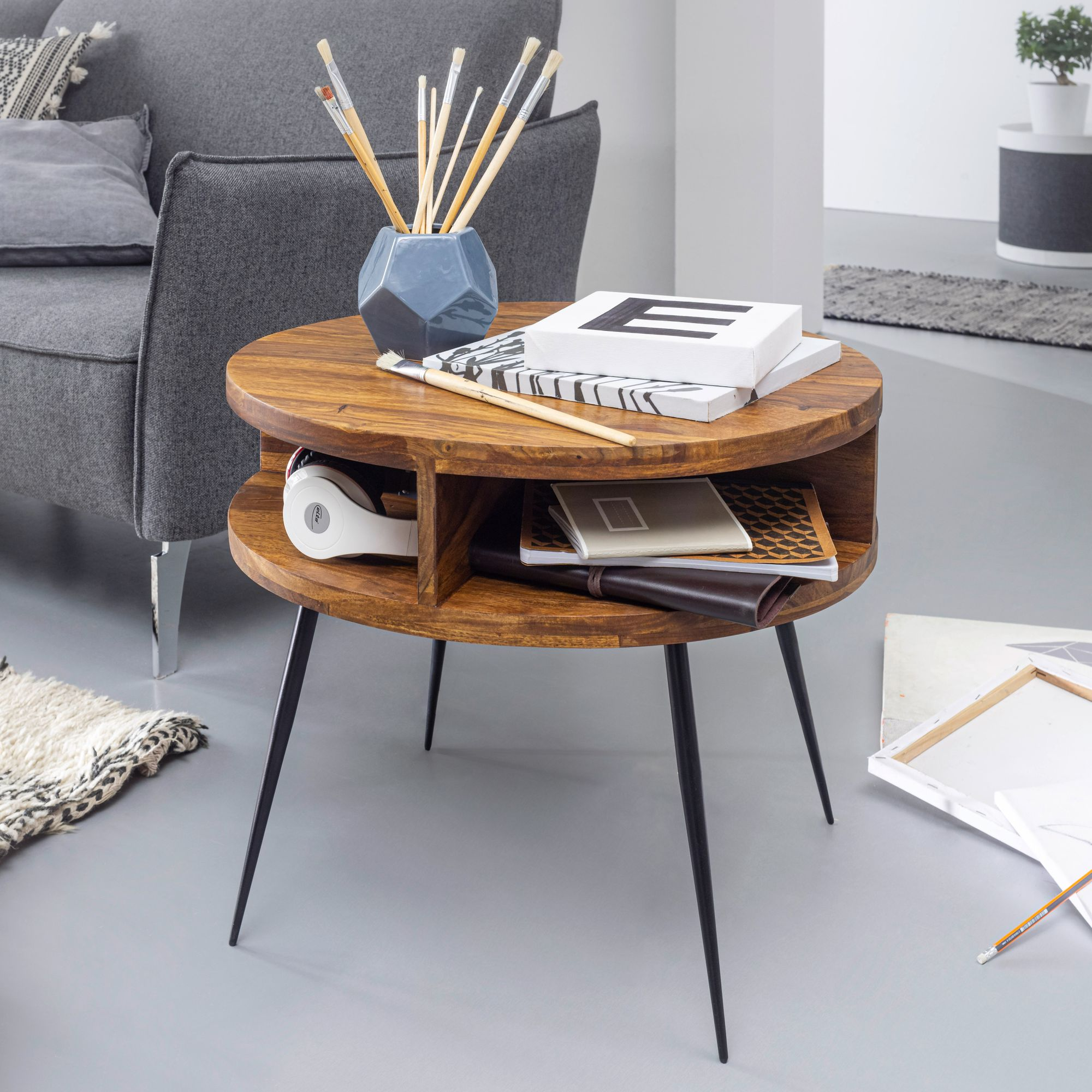 Wohnling Couchtisch Sheesham Massivholz Metall 60x45x60 Cm Tisch Wohnzimmer Design Beistelltisch Mit Ablage Kleiner