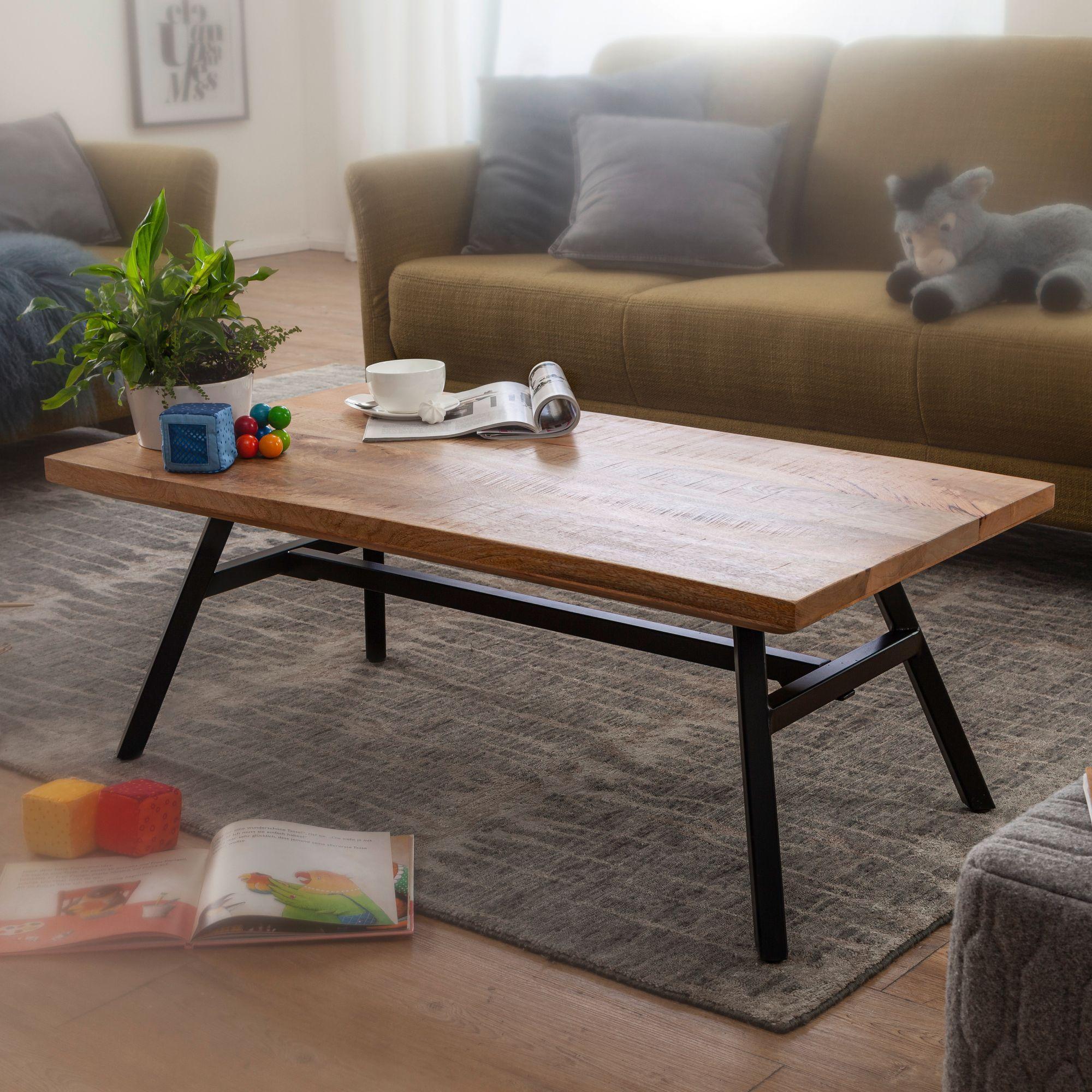 WOHNLING Couchtisch Mango Massivholz / Metall 43x43,43x43 cm  Wohnzimmertisch  Tisch Rustikal Echtholz und Edelstahl  Moderner  Sofatisch Massiv