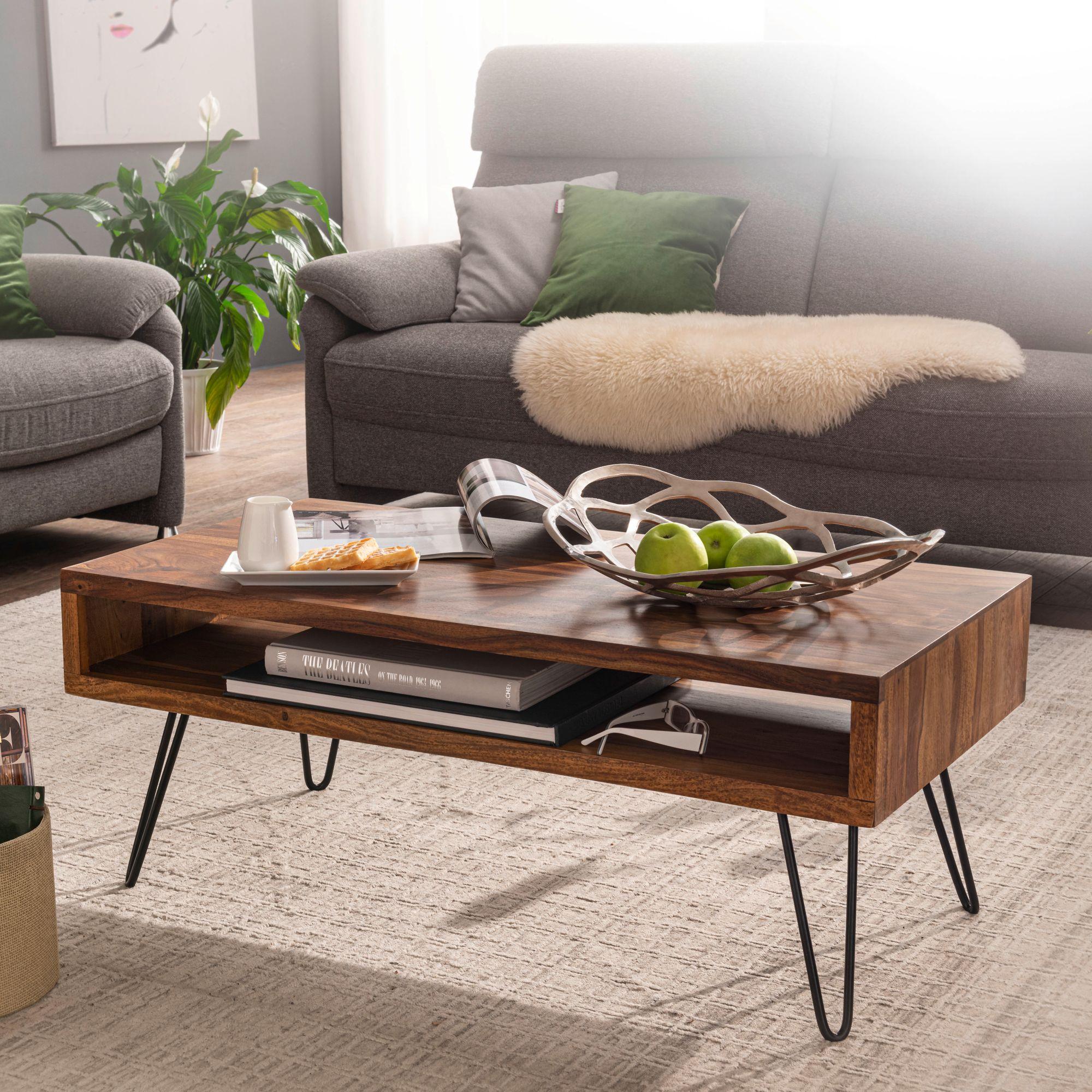 Wohnling Couchtisch 100x40x50 Cm Sheesham Massivholz Metall Sofatisch Design Wohnzimmertisch Rechteckig Kaffeetisch Massiv