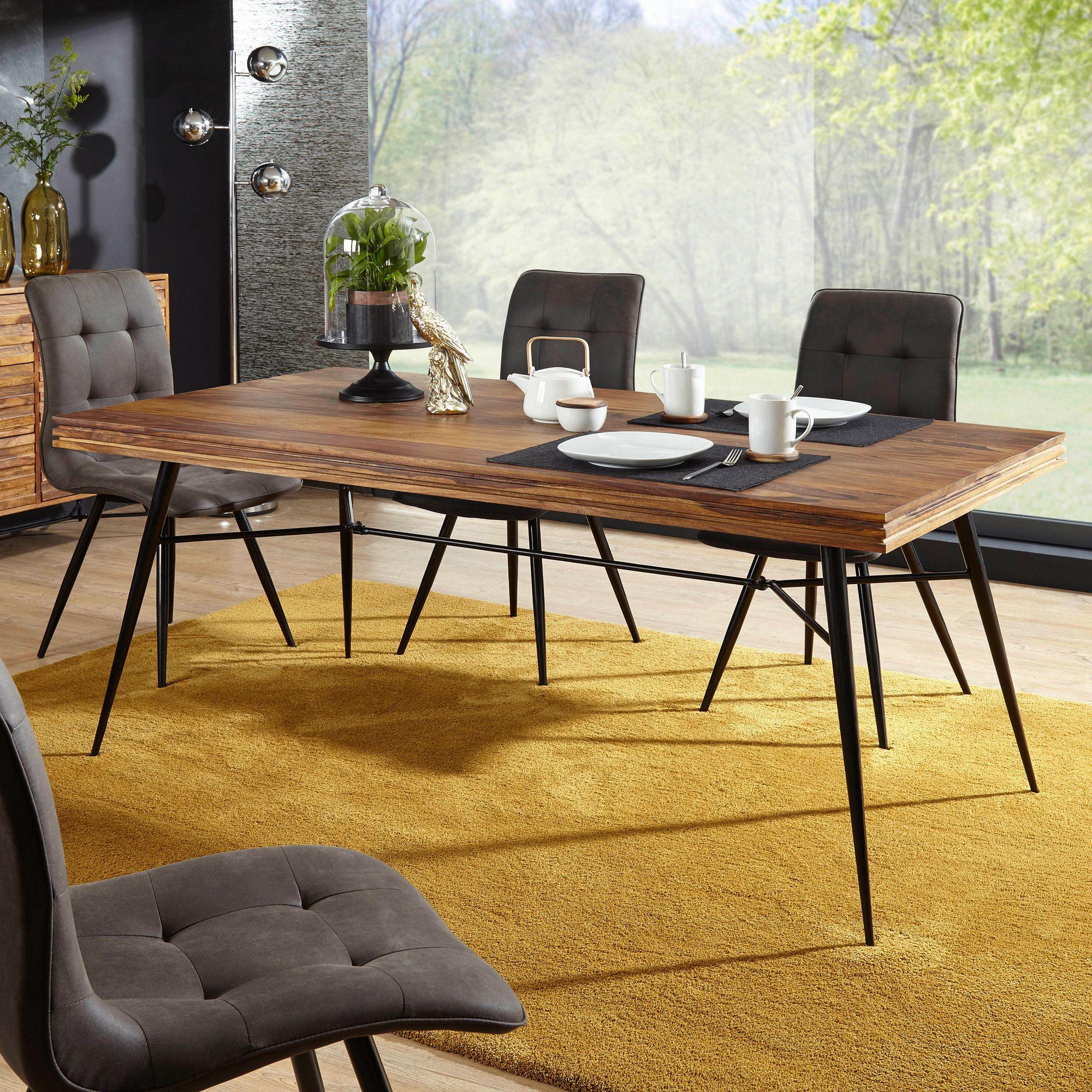 Esszimmertisch mit 4 Stühlen Sheesham Holz Massiv Esstisch Set 180cm  Küchentisch