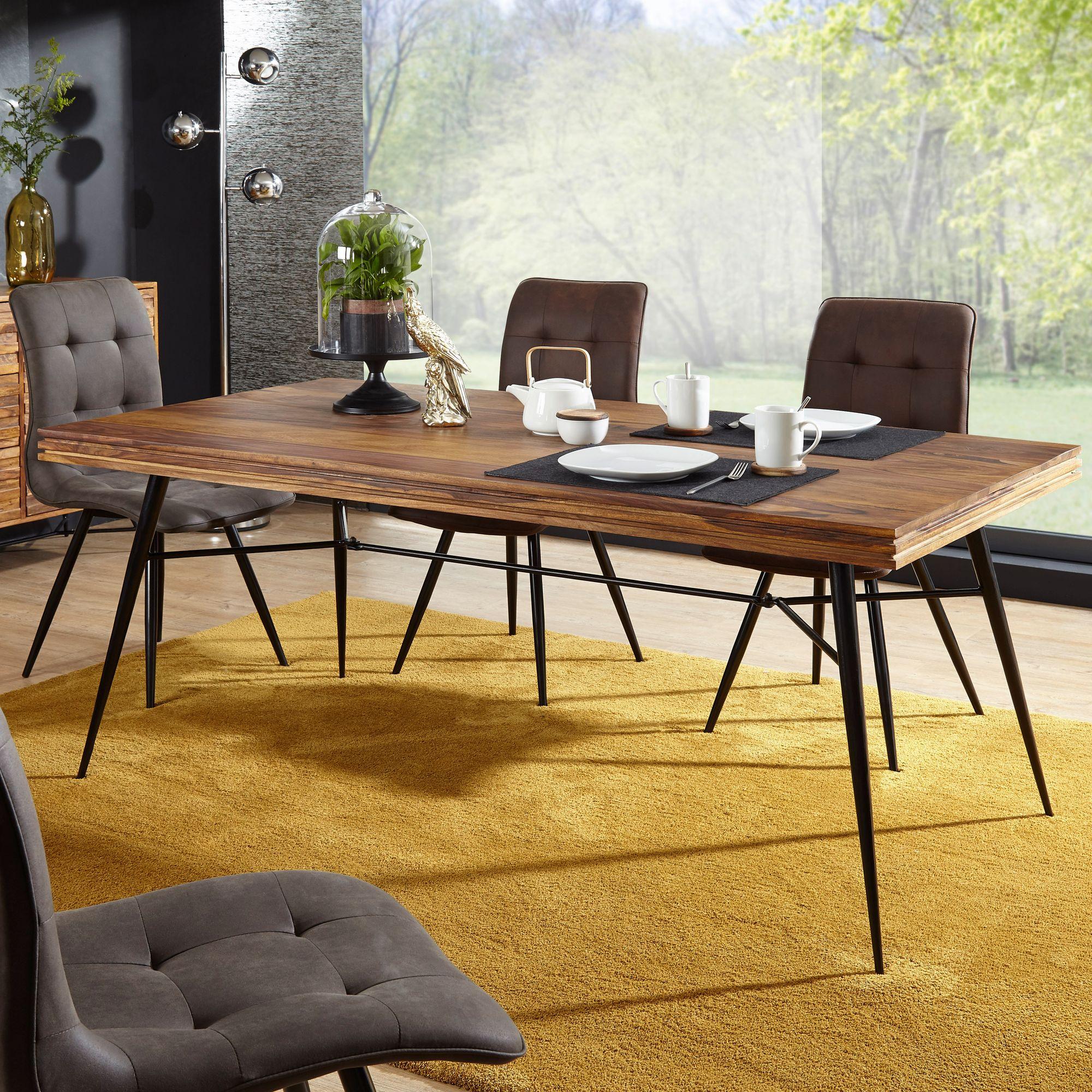 Esszimmertisch mit 4 Stühlen Sheesham Holz Massiv Esstisch Set 180cm ...
