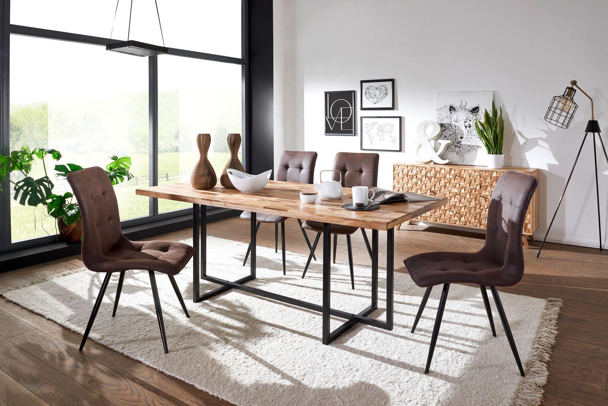 Esszimmertisch mit 4 Stühlen Holz Massiv Esstisch Set 200 cm Küchentisch  Groß