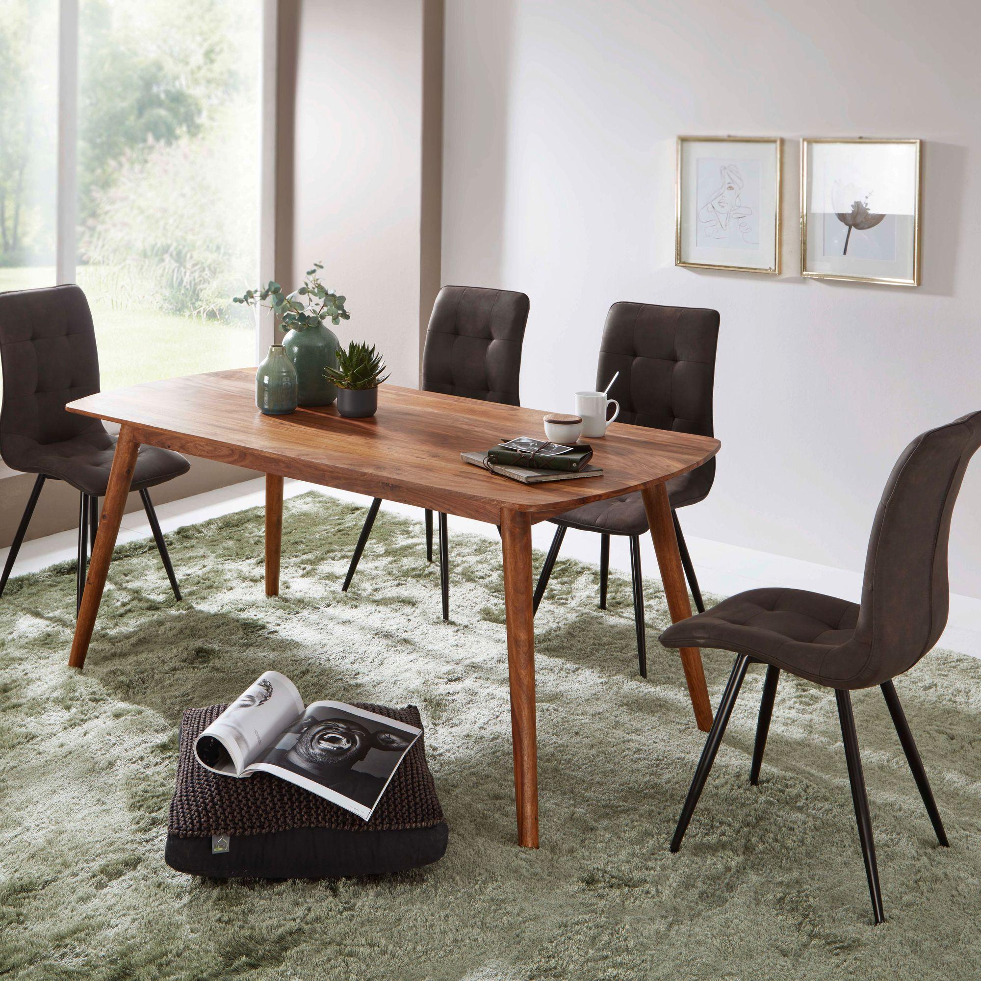 Küchentisch Stühlen Mit Holz Massiv 180cm Esszimmertisch Set Sheesham 4 Esstisch LRAj543