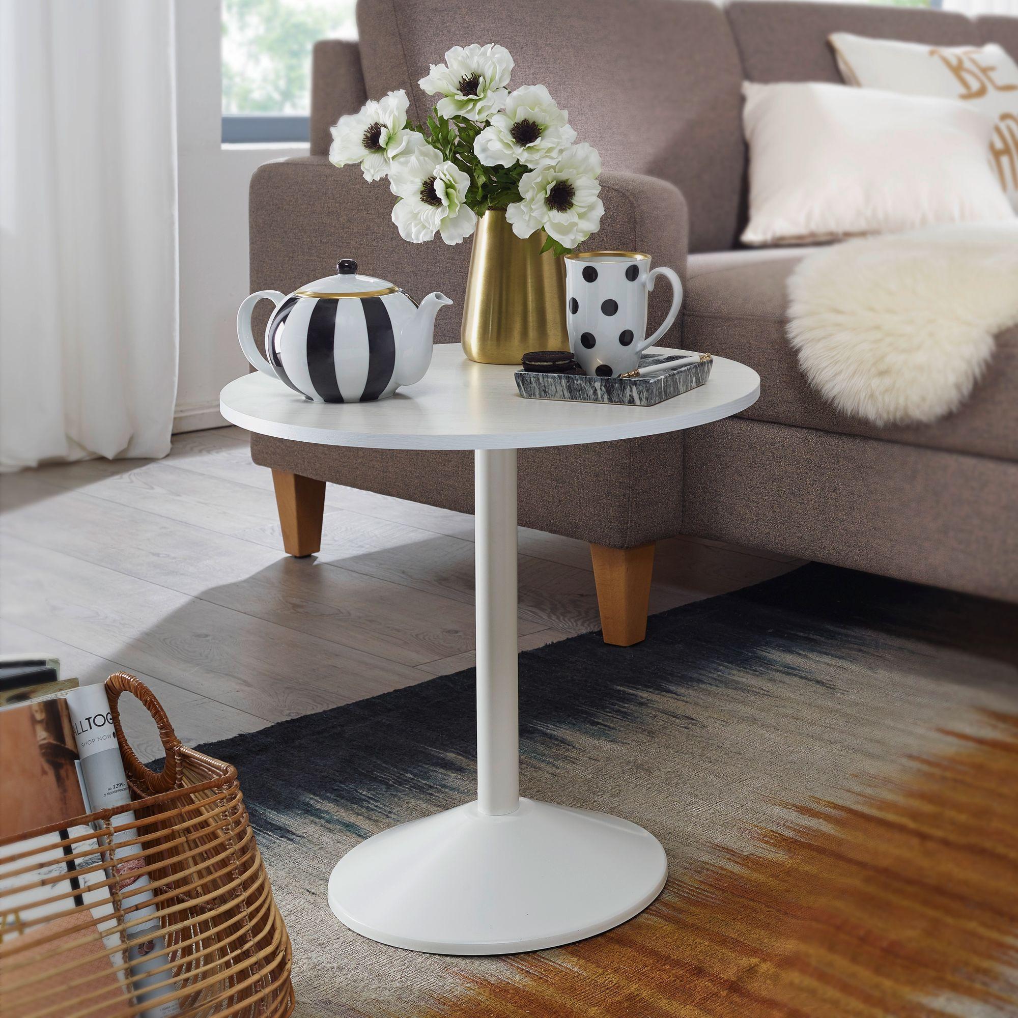 Wohnling Design Beistelltisch O 48cm Couchtisch Weiss Holz Optik