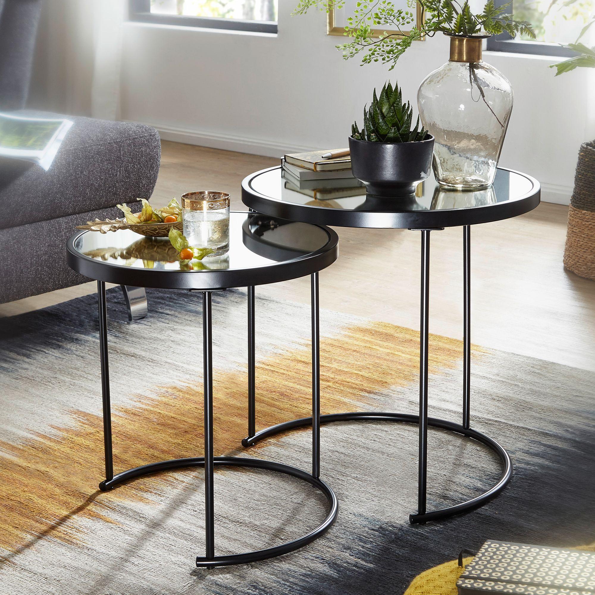 WOHNLING Design Beistelltisch Rund Ø 7/7 cm - 7 teilig Schwarz mit  Spiegel Glas  Wohnzimmertisch 7er Set  Satztisch verspiegelt  Couchtisch
