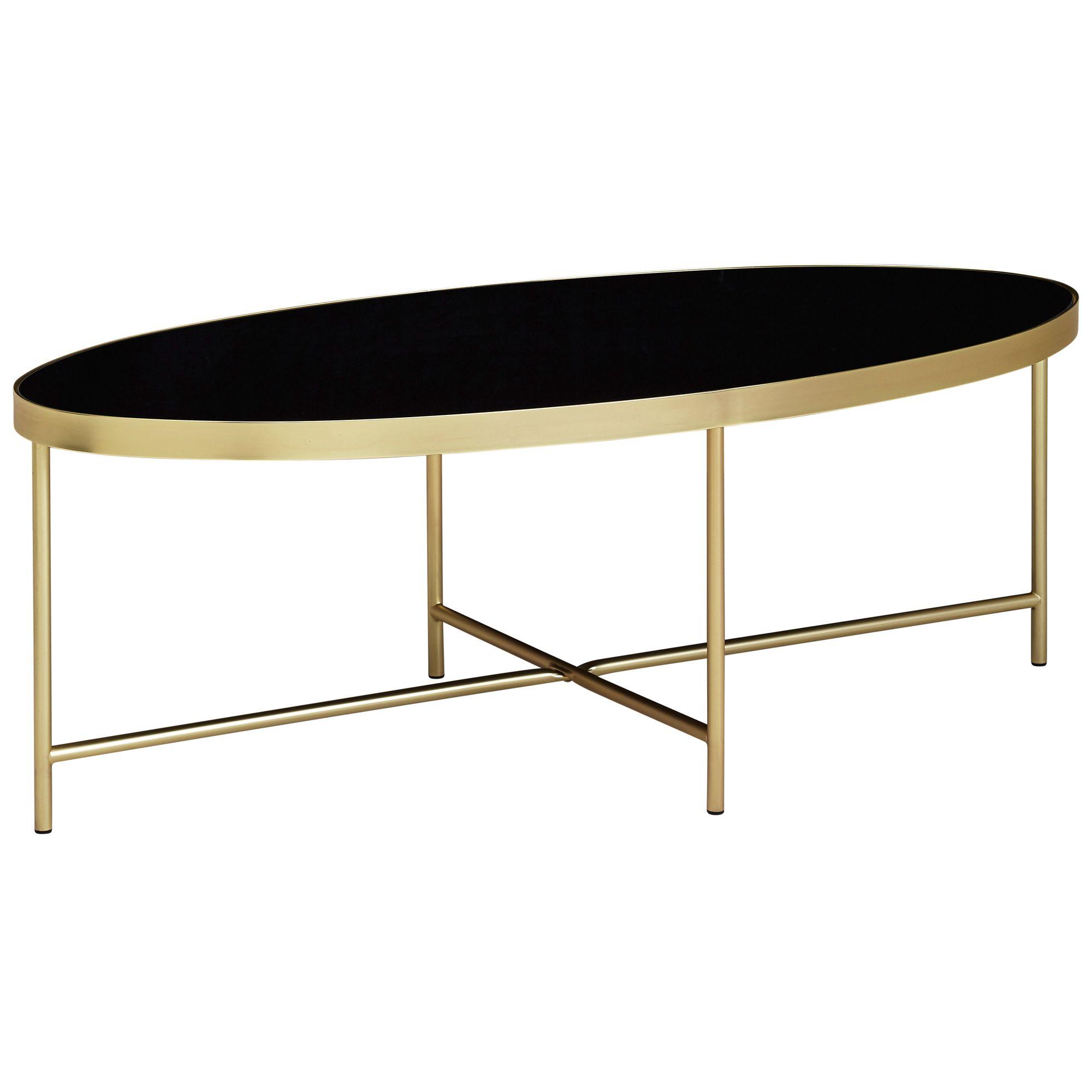 WOHNLING Couchtisch Glas Schwarz Wohnzimmertisch Oval 110 x 56 Glastisch  Gold