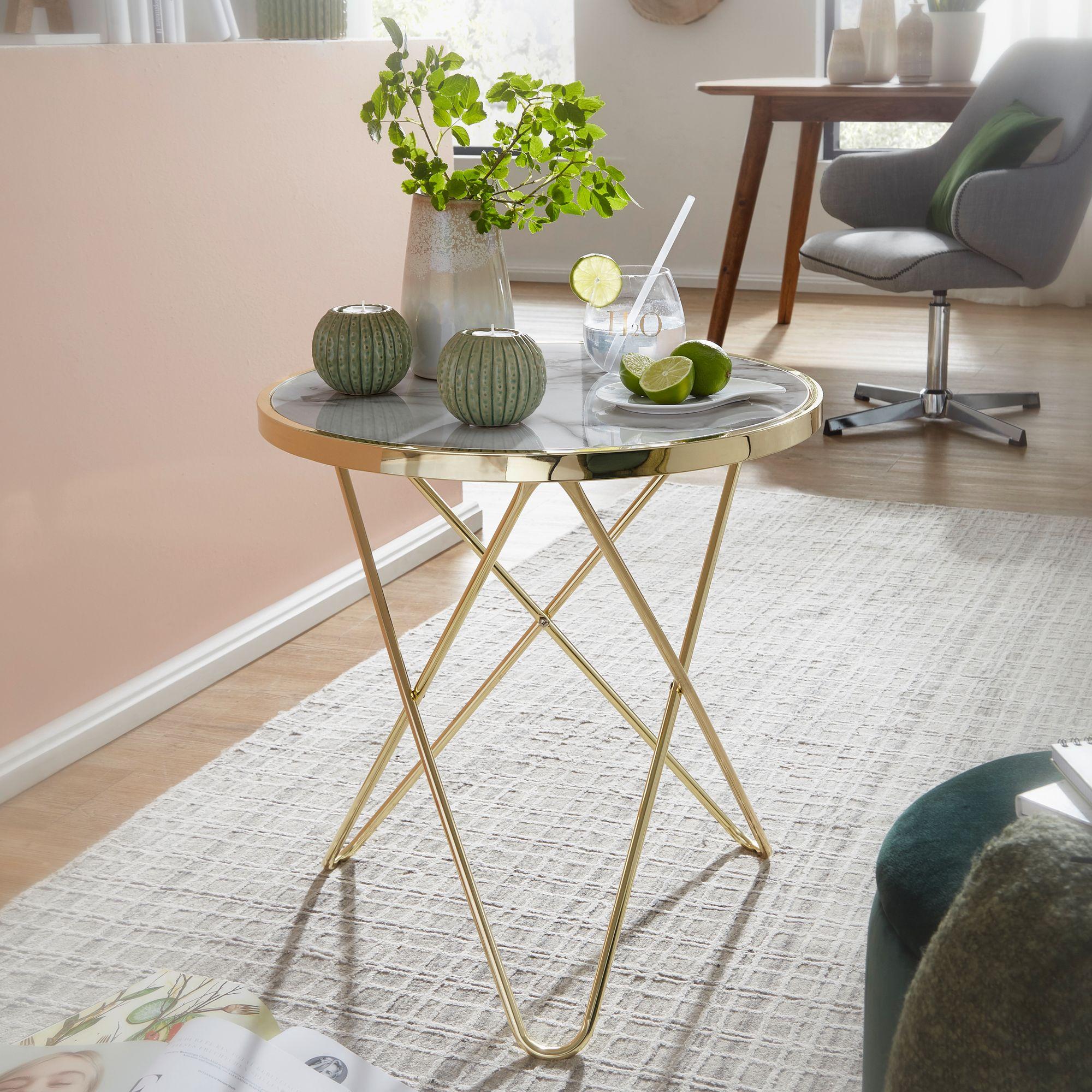 Wohnling Design Beistelltisch Marmor Optik Weiss Rund O55 Cm Gold Metallgestell Kleiner Wohnzimmertisch Couchtisch