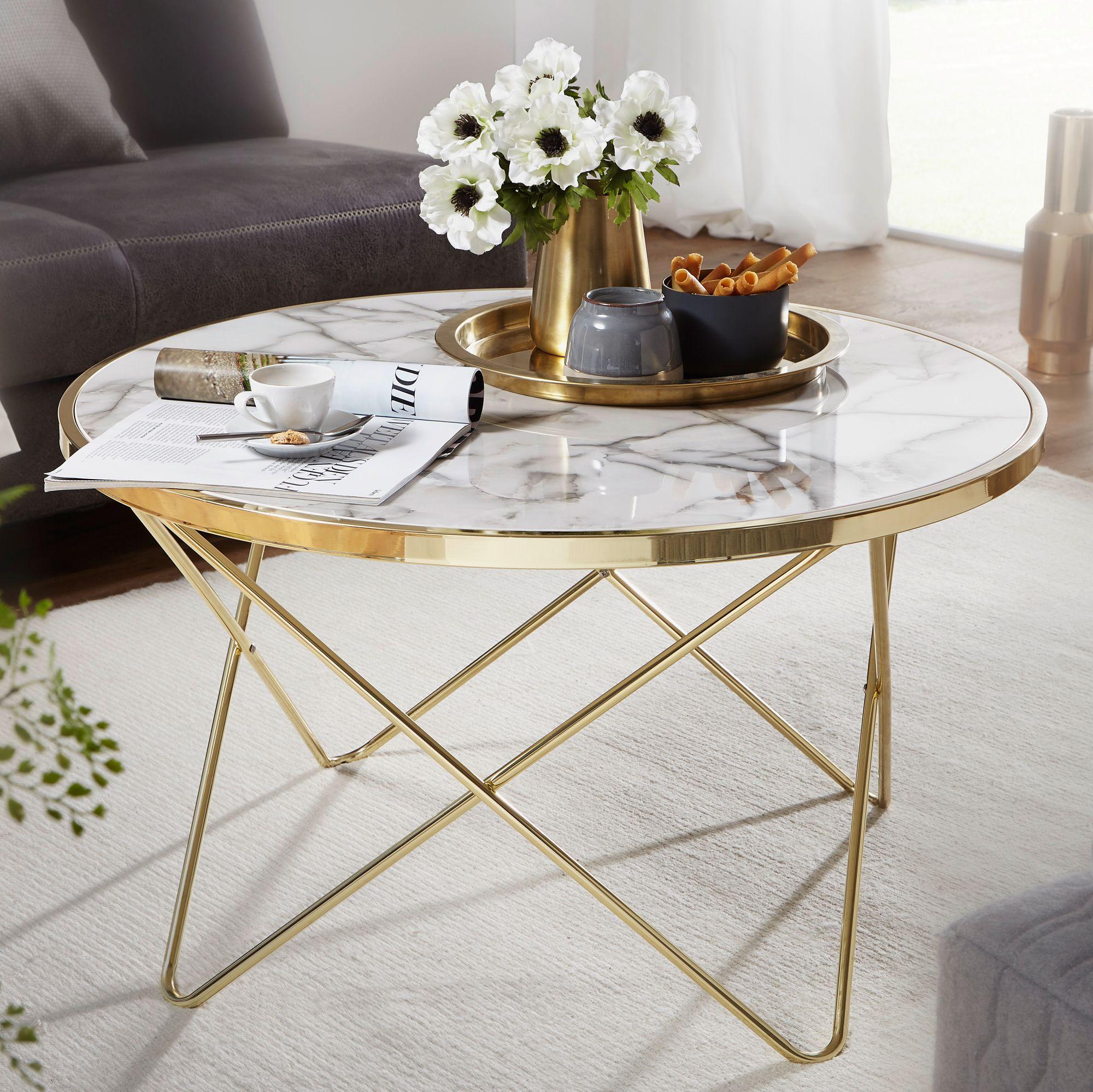 WOHNLING Design Couchtisch Marmor Optik Weiß Ø 85 cm Gold Wohnzimmertisch  Rund
