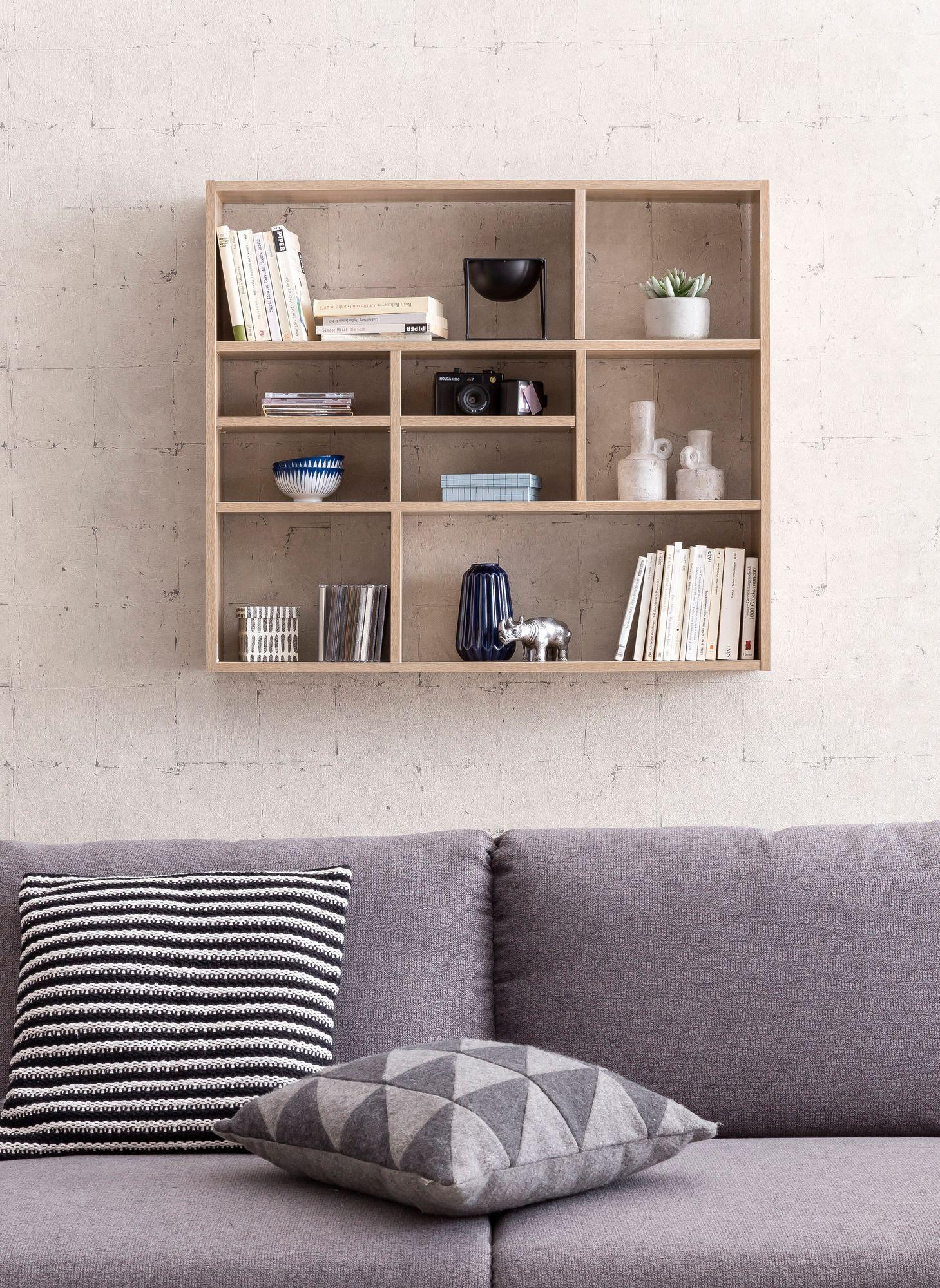 Holz Wandregal Wandboard Retro Deko Regal Bücherregal Hängeregal Quadratisch