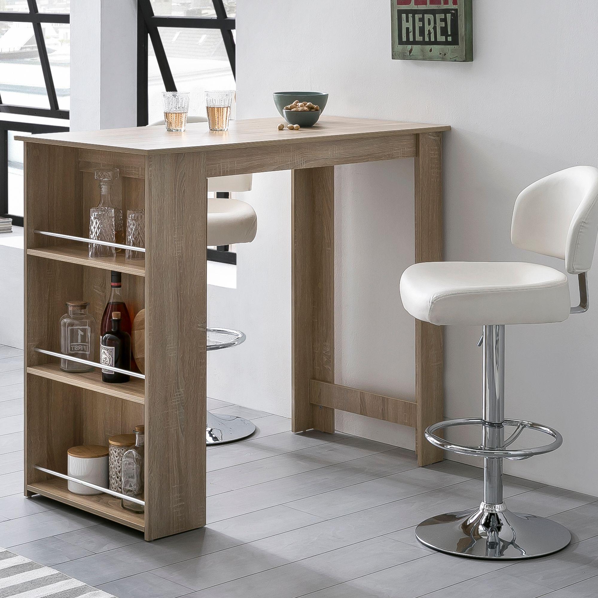 FineBuy Bartisch 19 x 19 cm Stehtisch Holz Küchenbartisch  Bartresen mit  integriertem Regal  Tresentisch mit Bar  Tresen Küchen Tisch