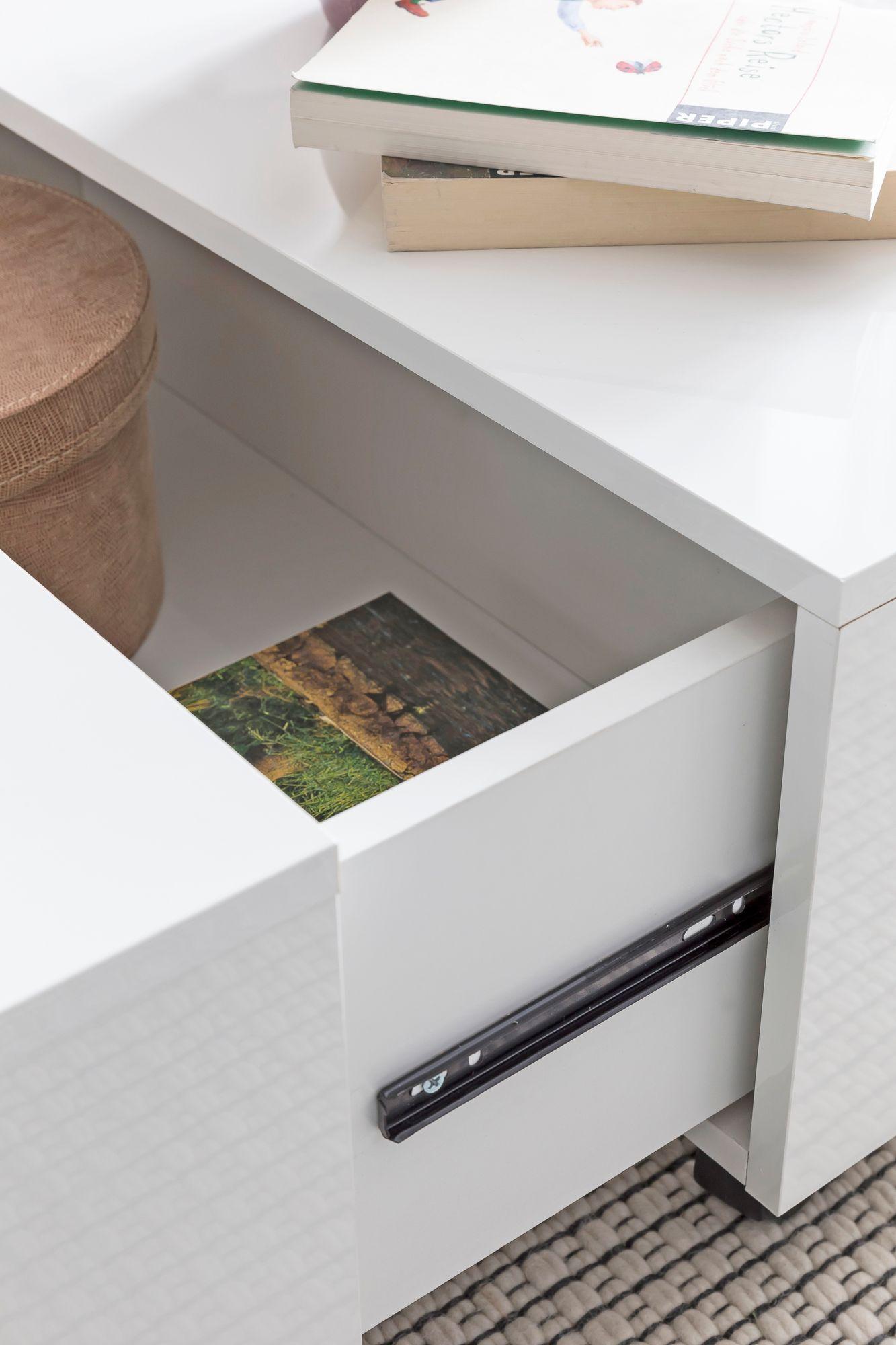 FineBuy Couchtisch Weiß mit Rollen Wohnzimmertisch 60 x 60 cm Schublade  Stauraum