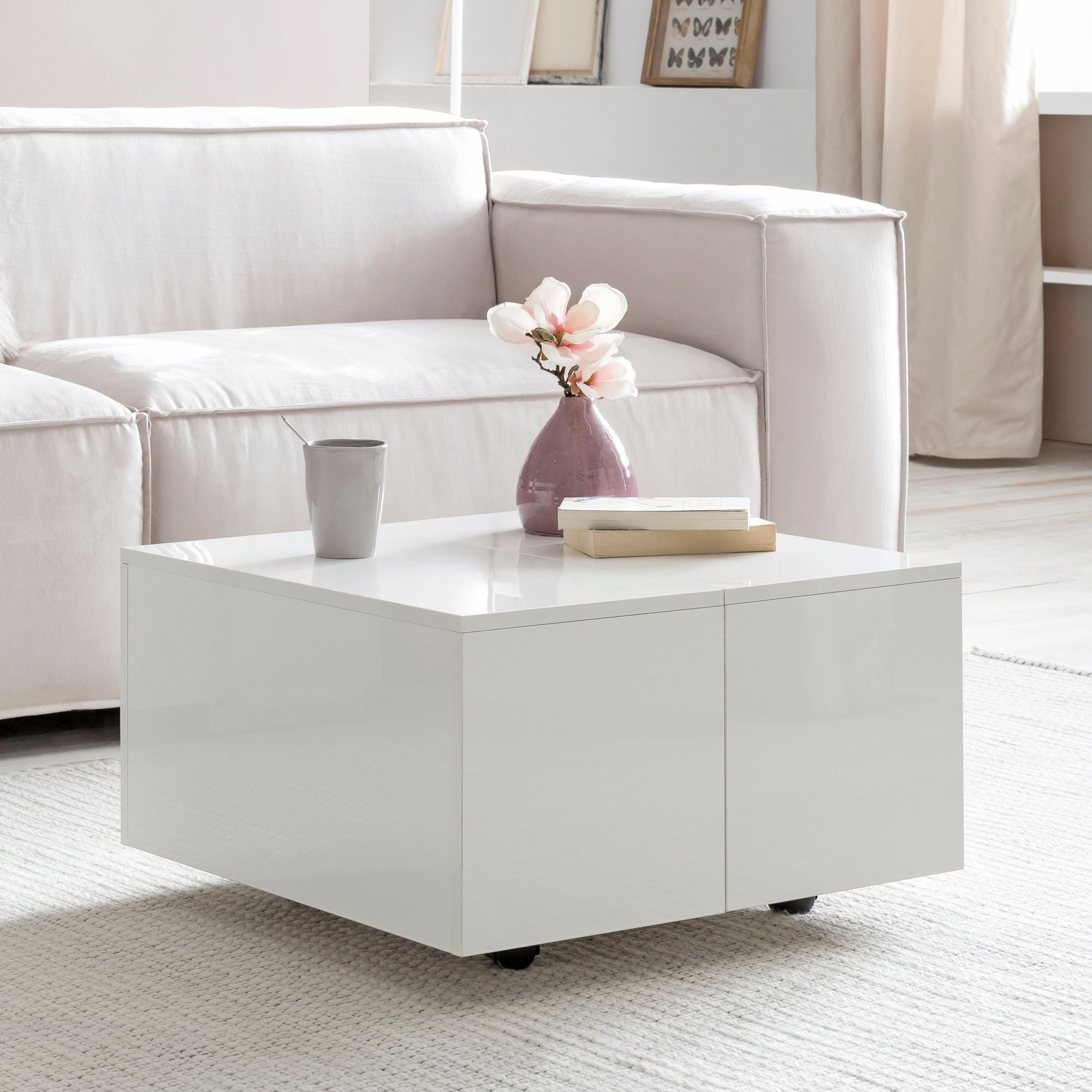 finebuy couchtisch fb52348 wei 60 x 35 x 60 cm holz. Black Bedroom Furniture Sets. Home Design Ideas