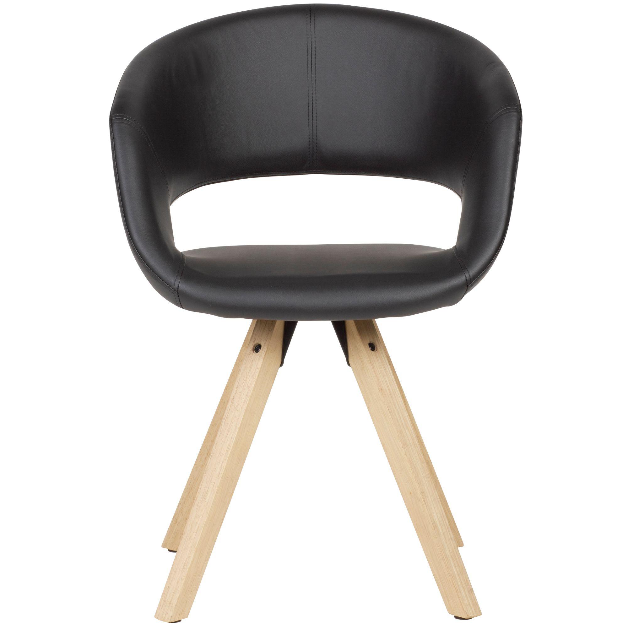 WOHNLING Esszimmerstuhl Schwarz Kunstleder Massivholz Retro | Küchenstuhl mit Lehne | Stuhl mit Holzfüßen | Polsterstuhl Maximalbelastbarkeit 110 kg