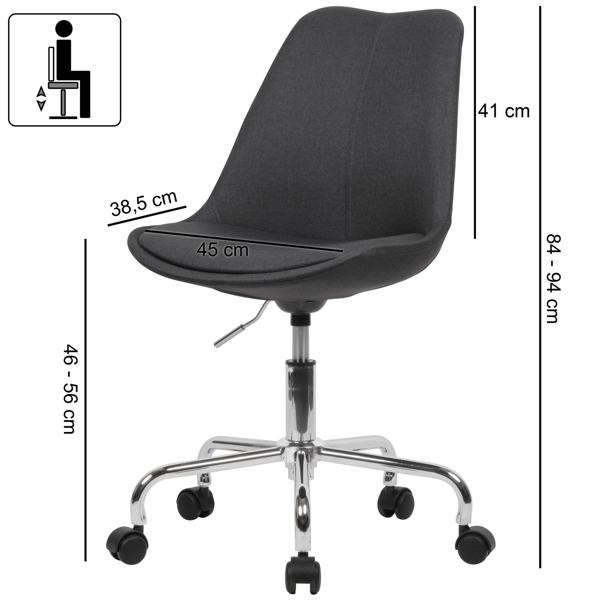AMSTYLE Schreibtischstuhl Schwarz Stoff | Design Drehstuhl mit Lehne | Arbeitsstuhl mit 110 kg Maximalbelastung | Schalenstuhl mit Rollen | Stuhl