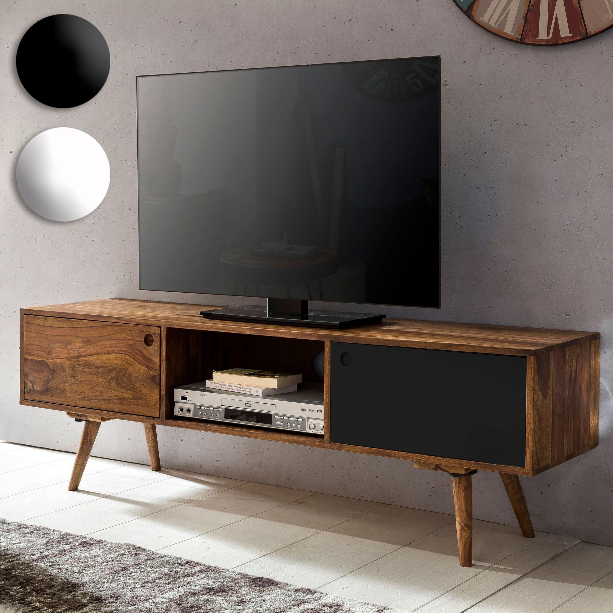 Tv Lowboard 140 Cm Massiv Holz Sheesham Landhaus 2 Turen Fach