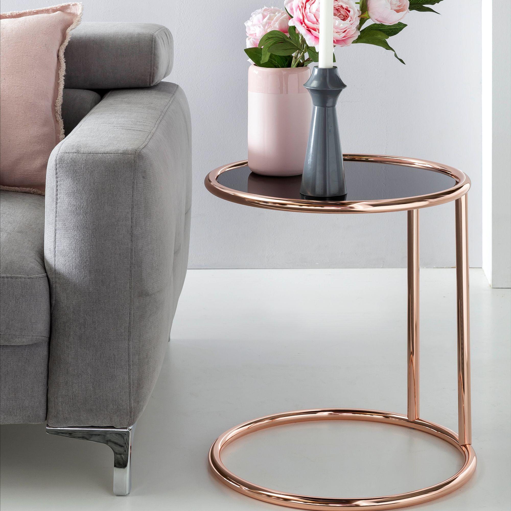 FineBuy Design Couchtisch ø 16 cm Rund Glas  Lounge Beistelltisch  verspiegelt  Moderner Wohnzimmertisch  Glastisch Sofatisch Tisch für  Wohnzimmer