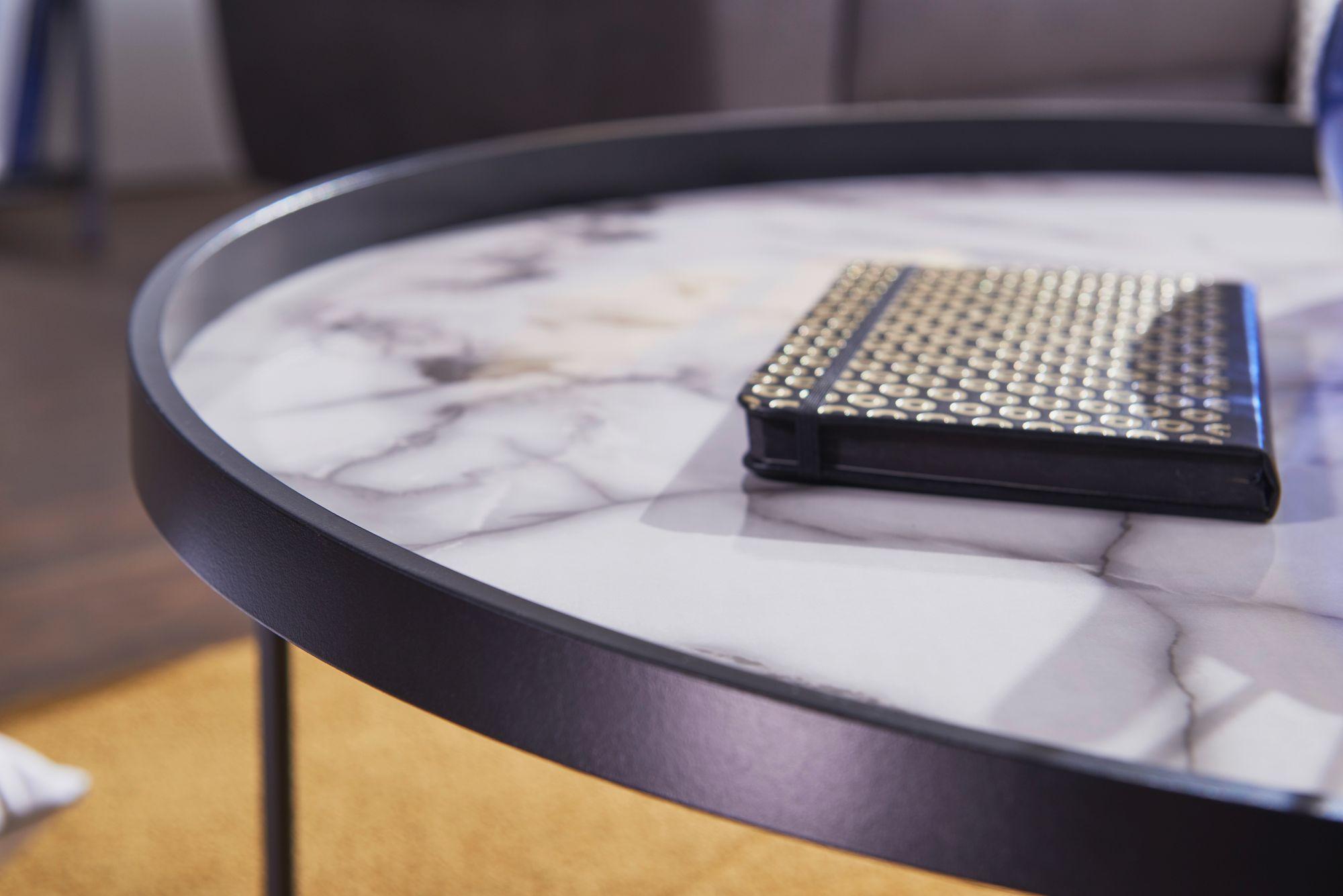 FineBuy Couchtisch Rund Ø 76 cm Wohnzimmertisch Marmor Optik Weiß  Beistelltisch