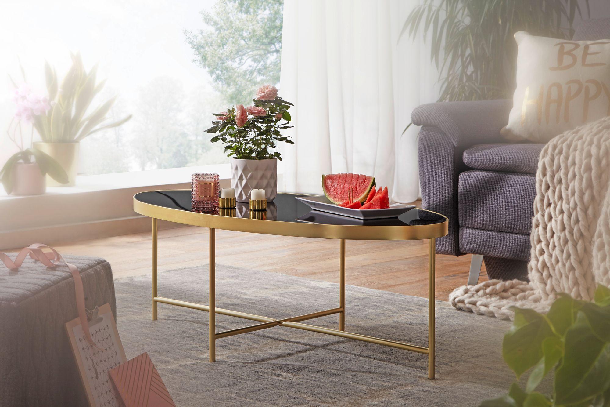 FineBuy Couchtisch Glas Schwarz Wohnzimmertisch Oval 110 x 56 Glastisch Gold