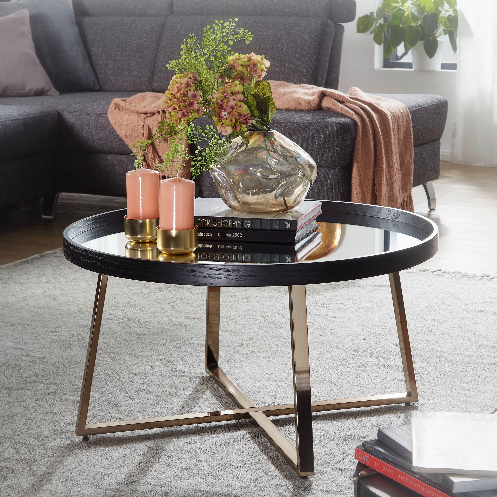 Tisch Rund Metall Glas.Finebuy Couchtisch Rund Gold Wohnzimmertisch Spiegel Glas Beistelltisch Schwarz