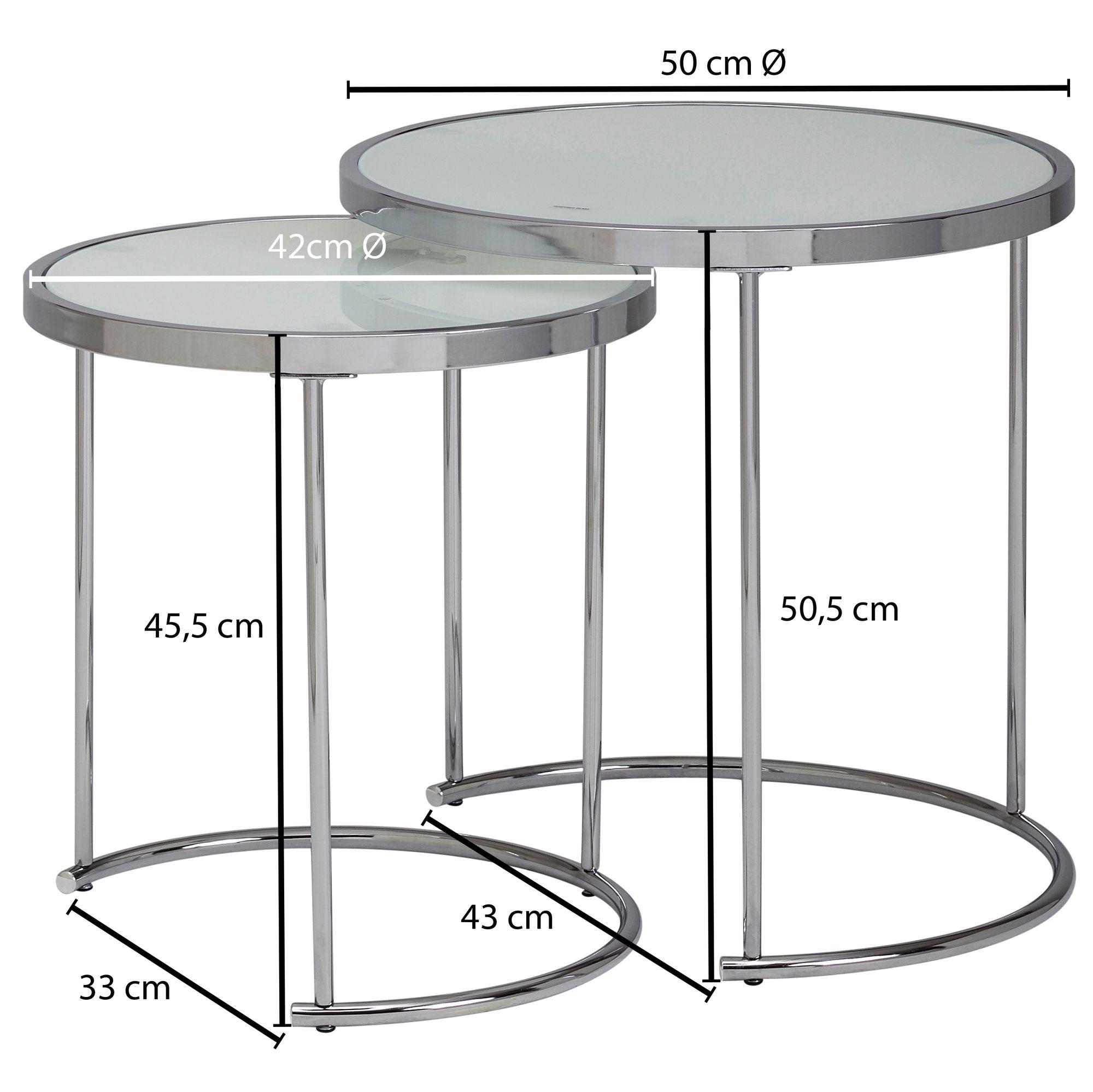 FineBuy Beistelltisch 2tlg Rund Wohnzimmertisch Weiß Glas Couchtisch Silber